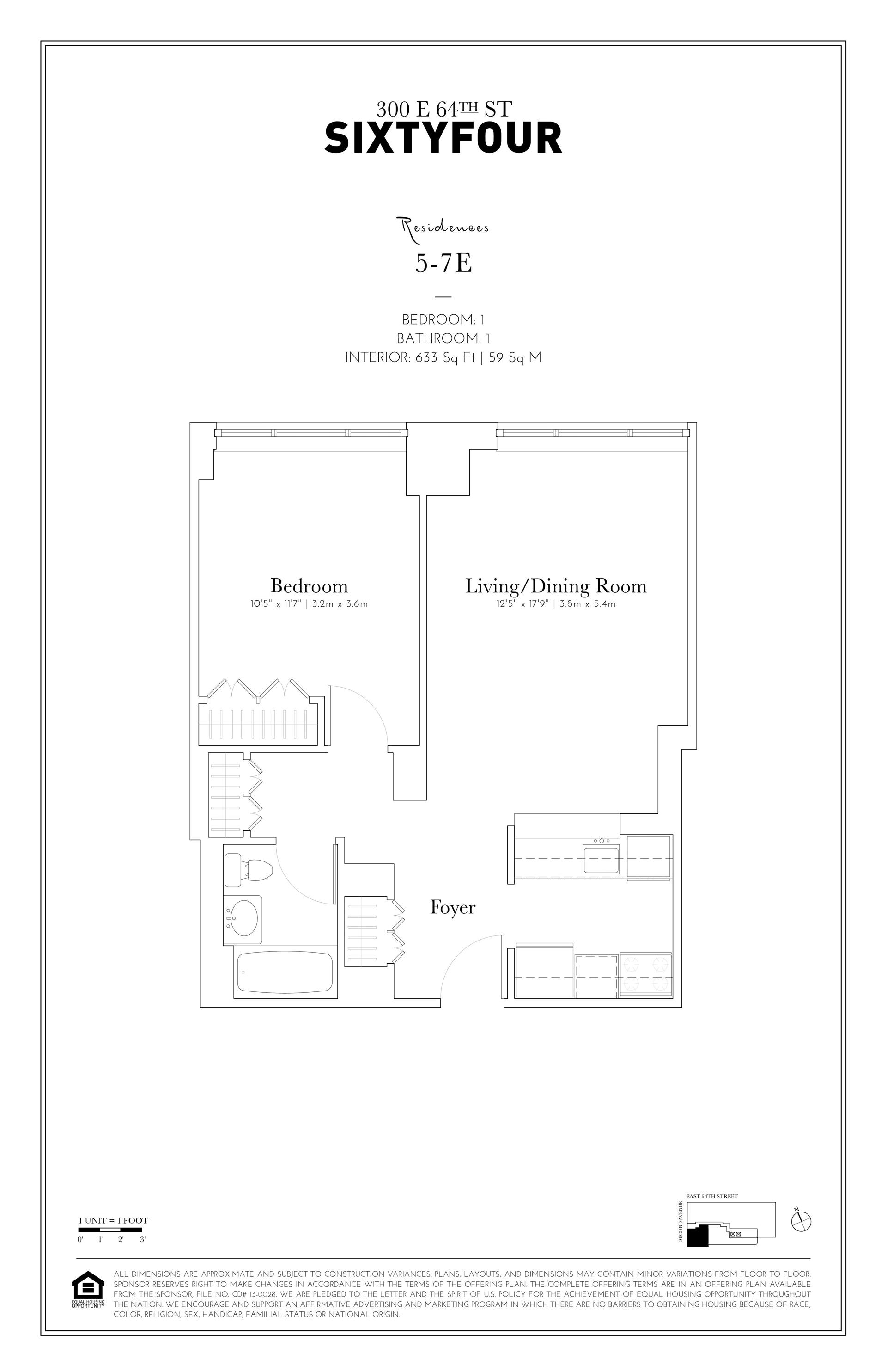 Floor plan of 300 East 64th St, 5E - Upper East Side, New York