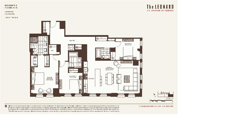 Floor plan of The Leonard, 101 Leonard Street, 8E - TriBeCa, New York
