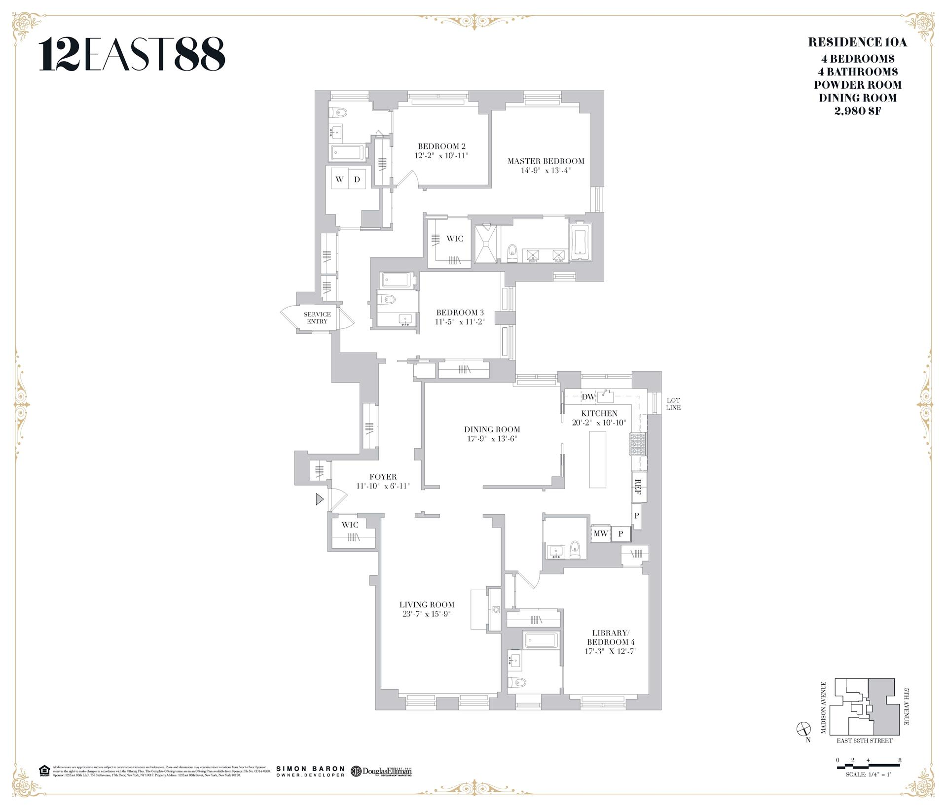 Floor plan of 12 East 88th St, 10A - Carnegie Hill, New York
