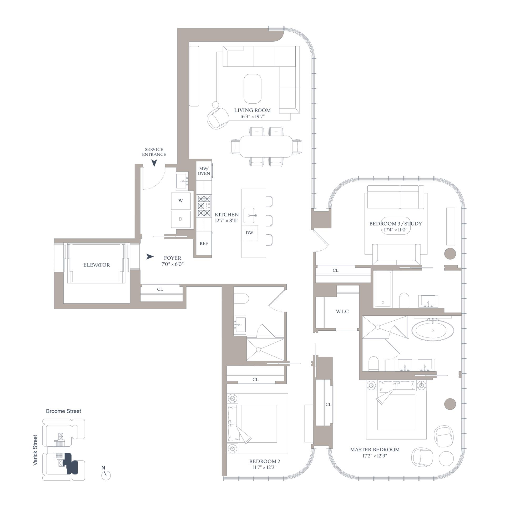 Floor plan of 565 Broome St, S22B - SoHo - Nolita, New York