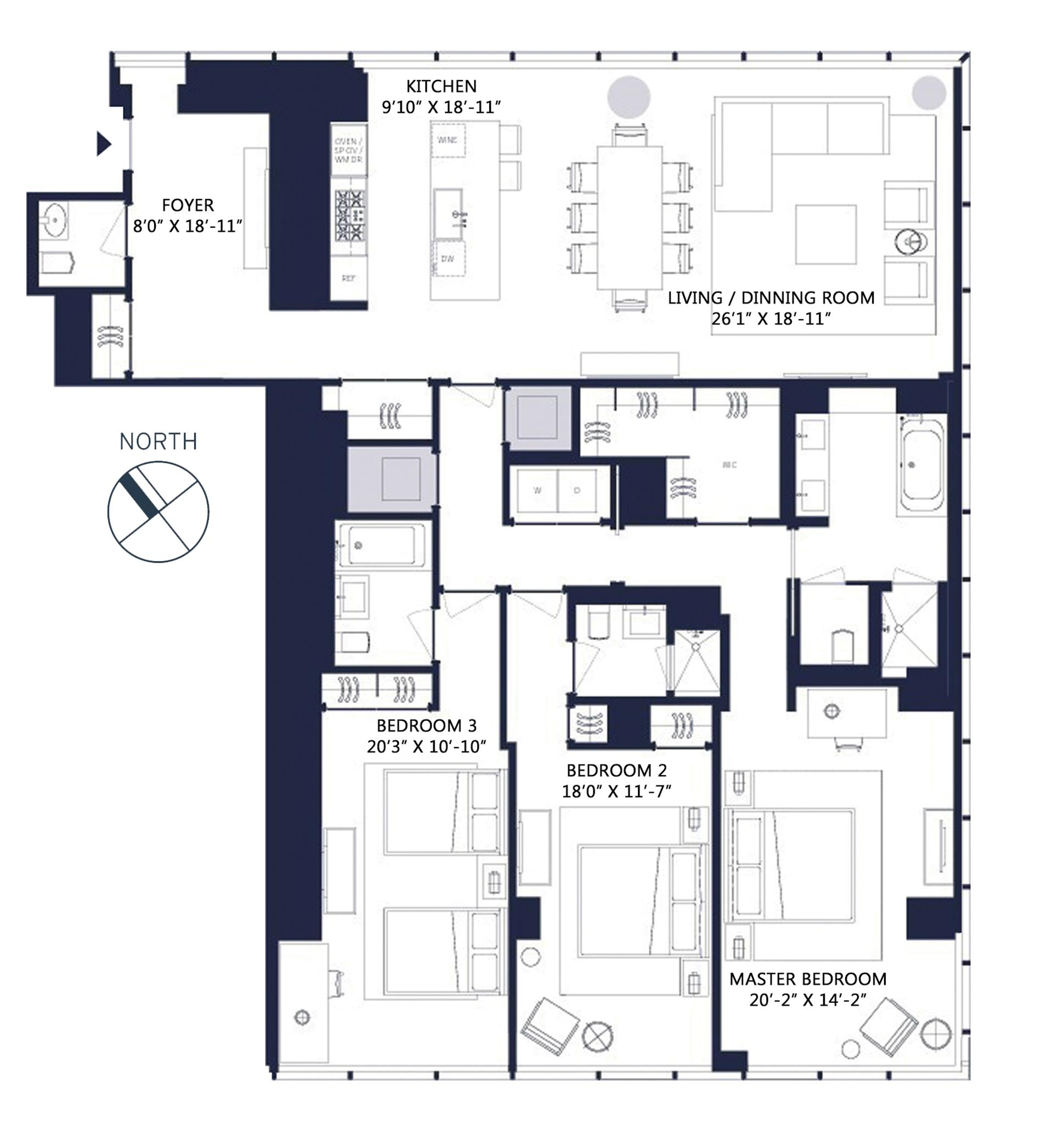 Floor plan of One57, 157 West 57th St, 35F - Central Park South, New York