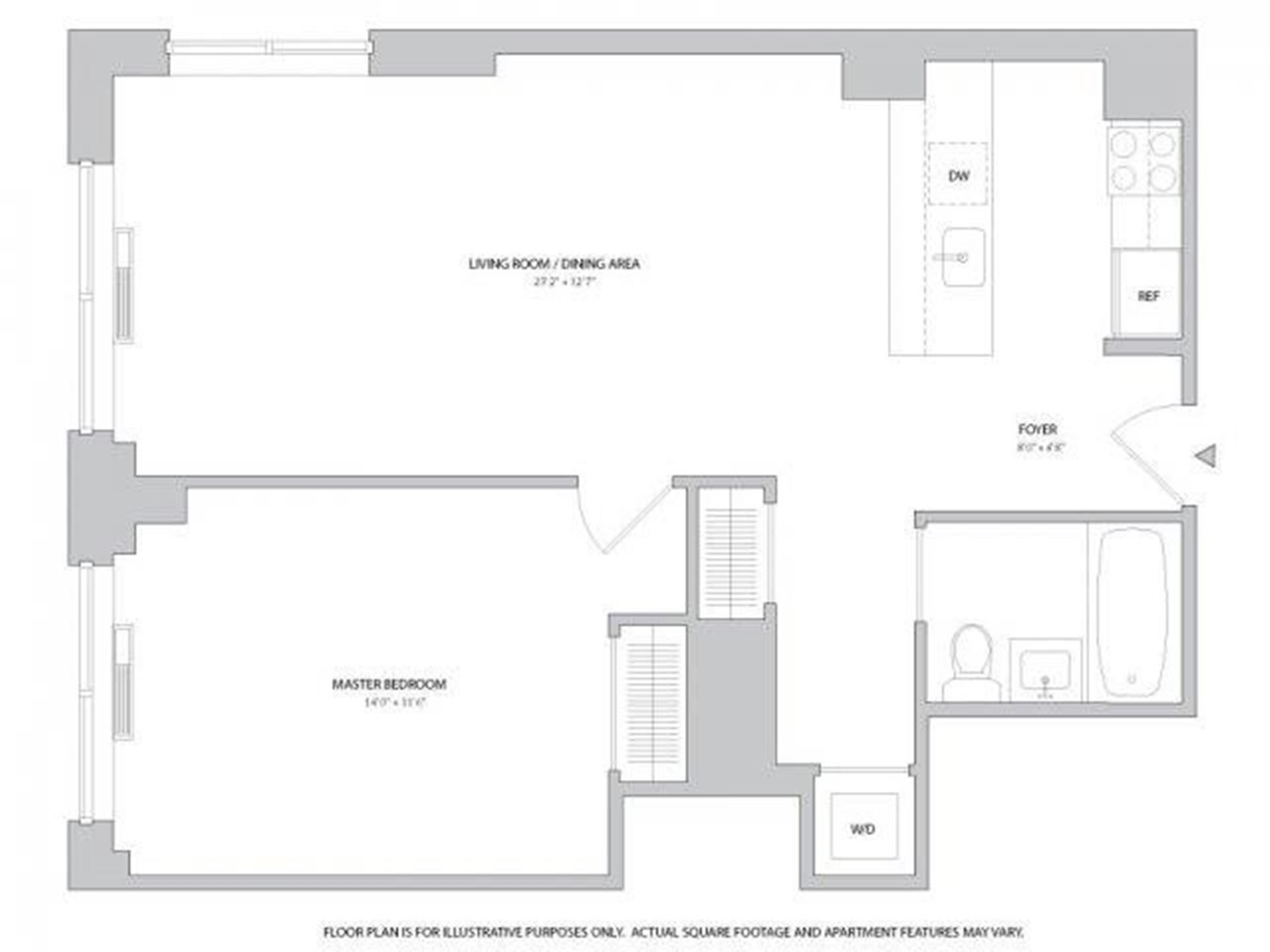 Floor plan of 400 West 63rd St, 805 - Upper West Side, New York