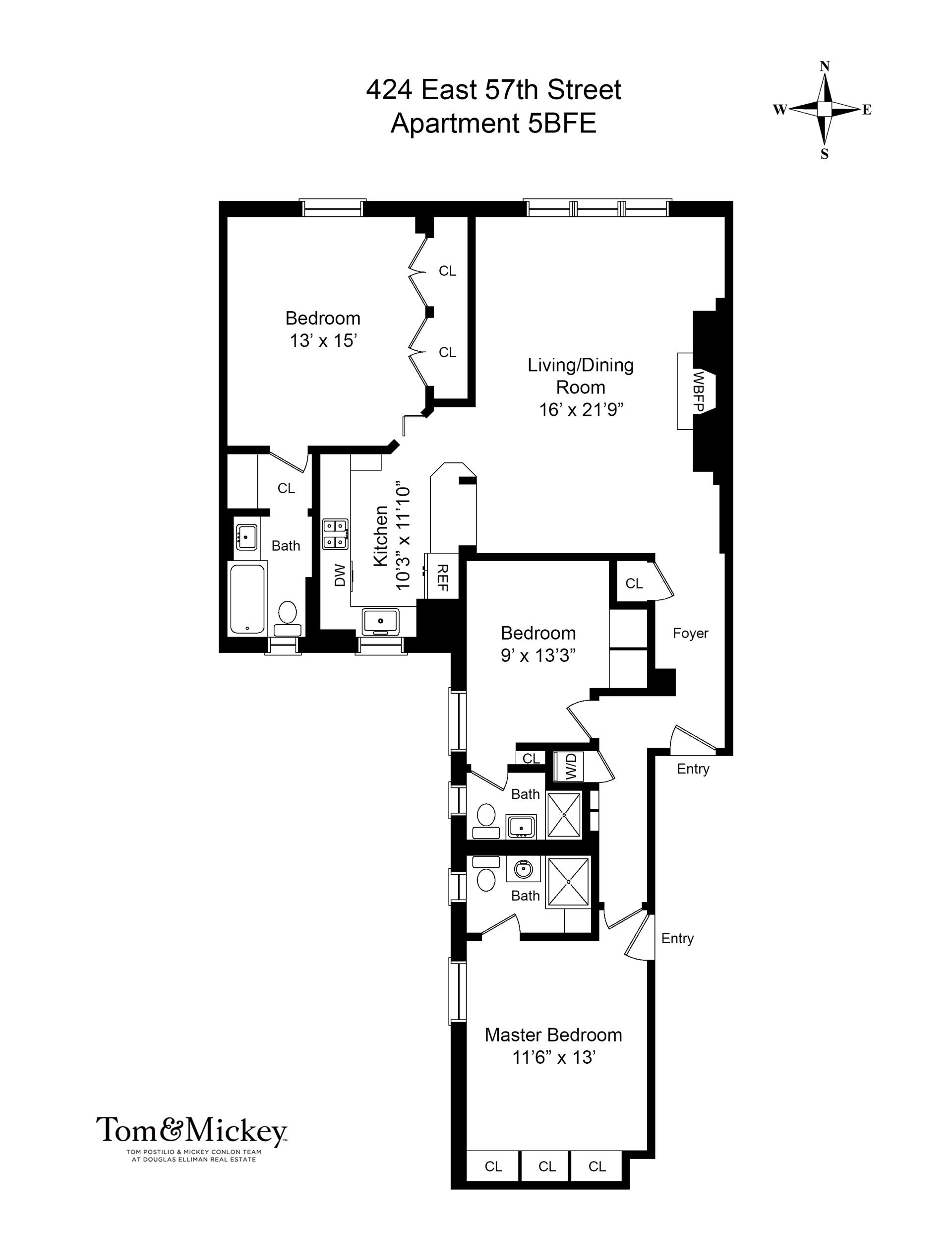 Floor plan of SUTTON ASSOC., 424 East 57th St, 5BFE - Sutton Area, New York