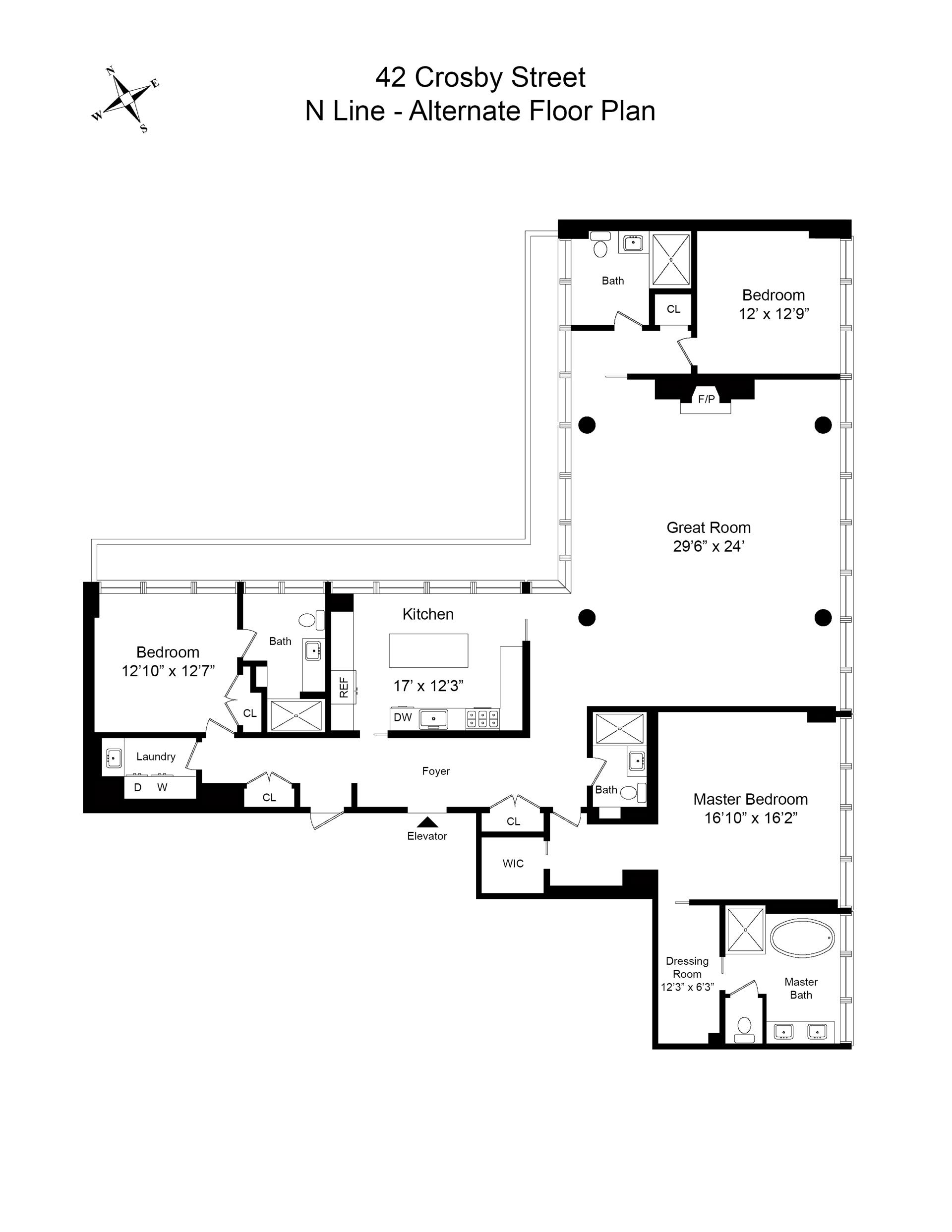 Floor plan of 42 Crosby St, 5N - SoHo - Nolita, New York