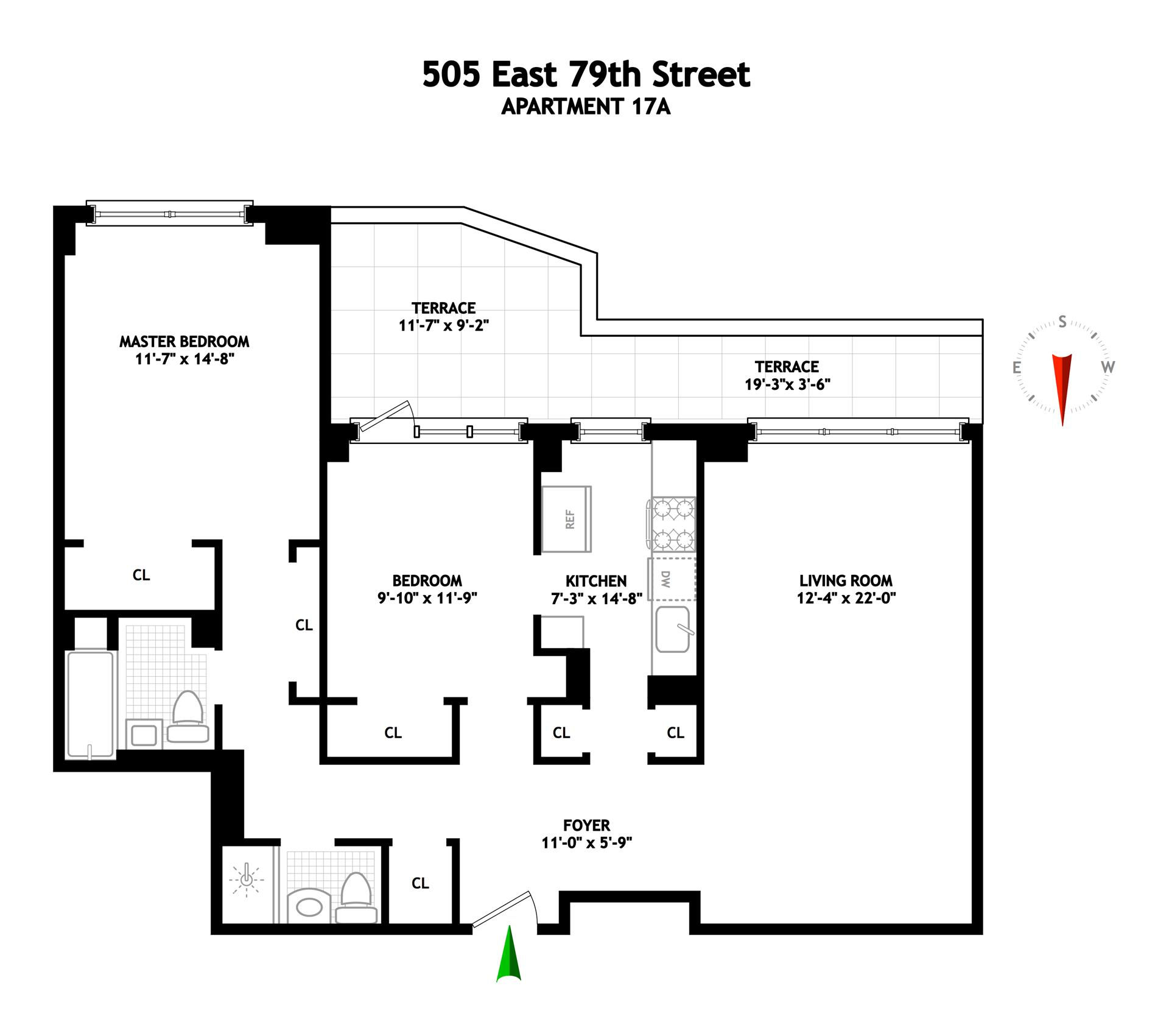 Floor plan of EAST RIVER HOUSE, 505 East 79th St, 17A - Upper East Side, New York