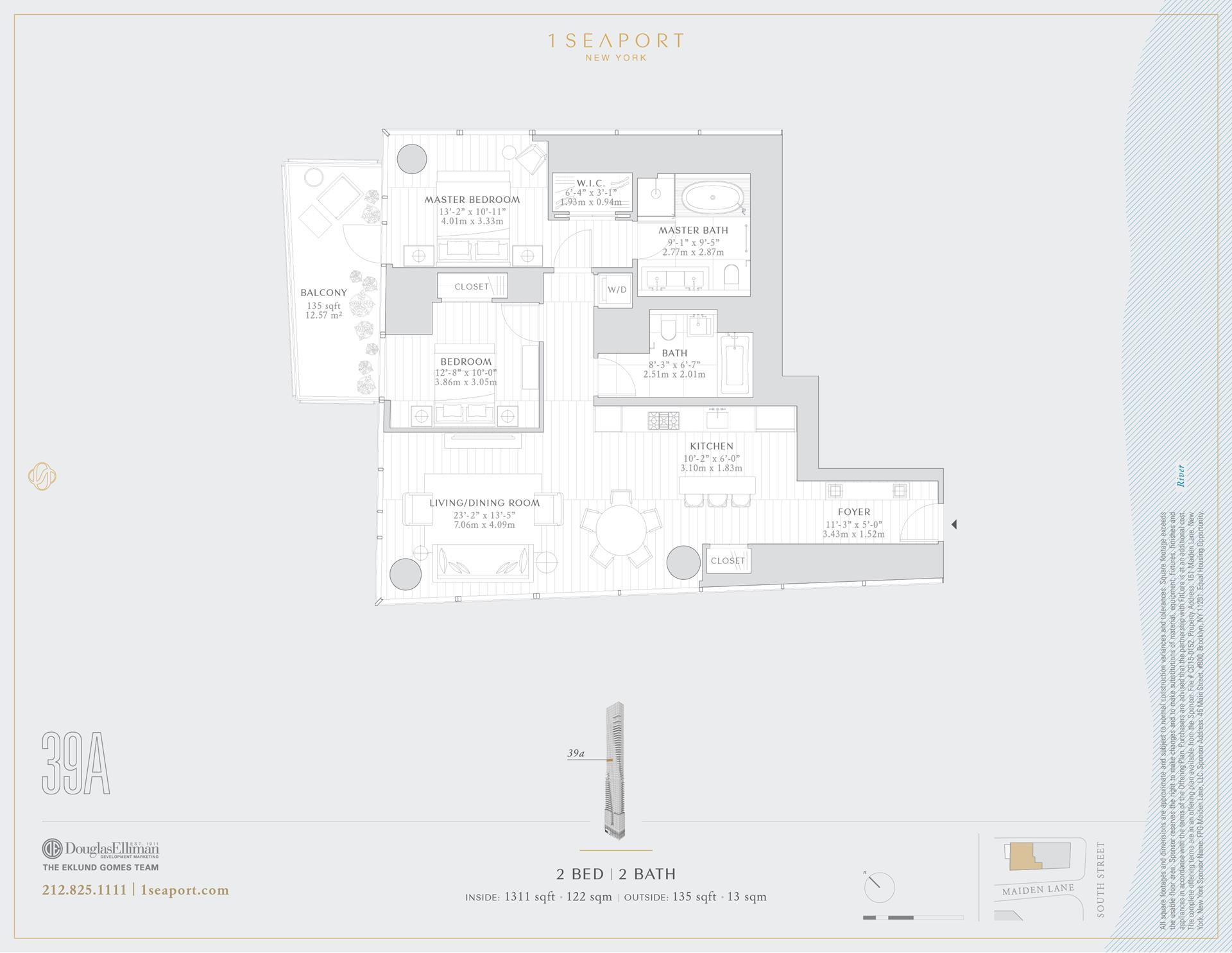 Floor plan of 1 Seaport, 161 Maiden Ln, 39A - Financial District, New York