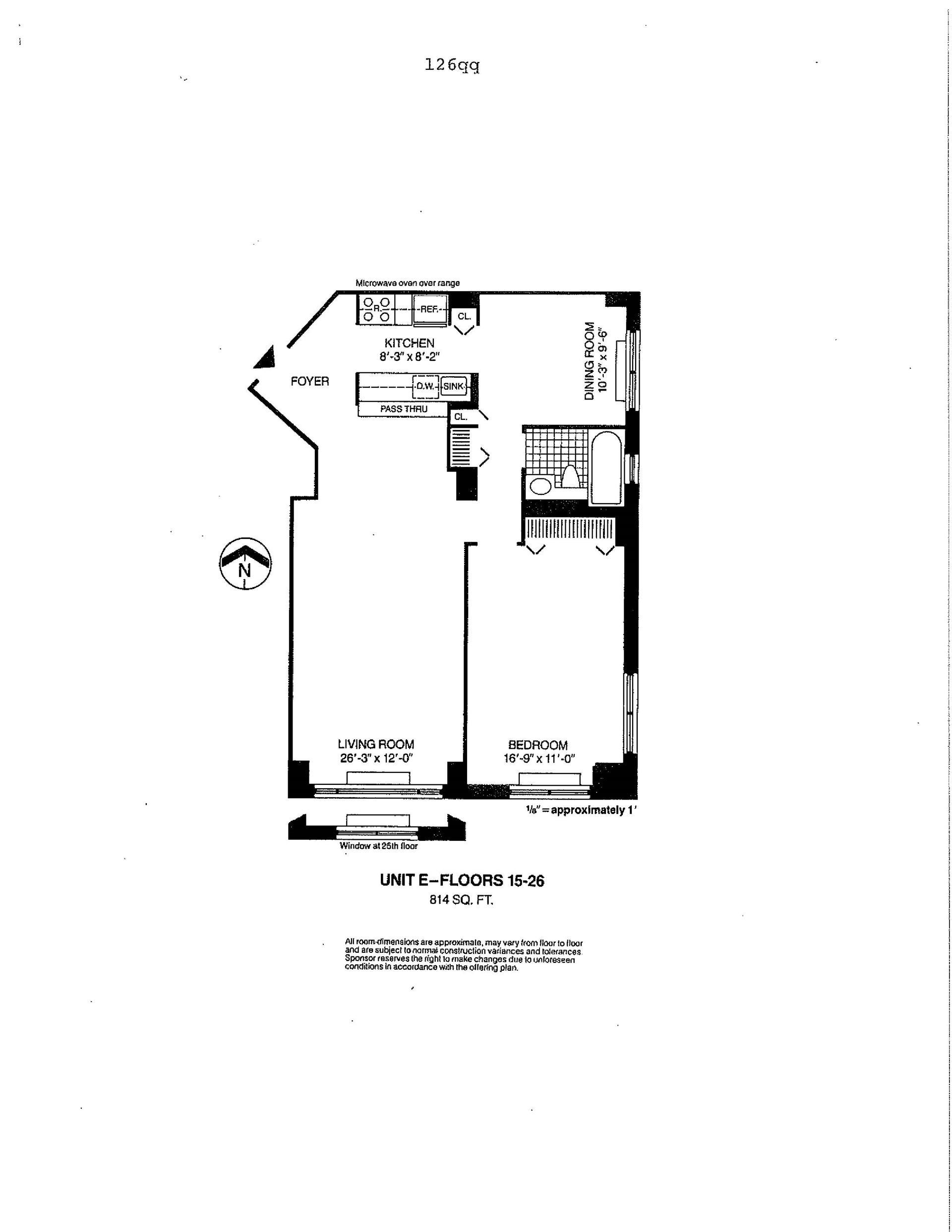 Floor plan of Liberty Residences, 377 Rector Pl, 25E - Battery Park City, New York
