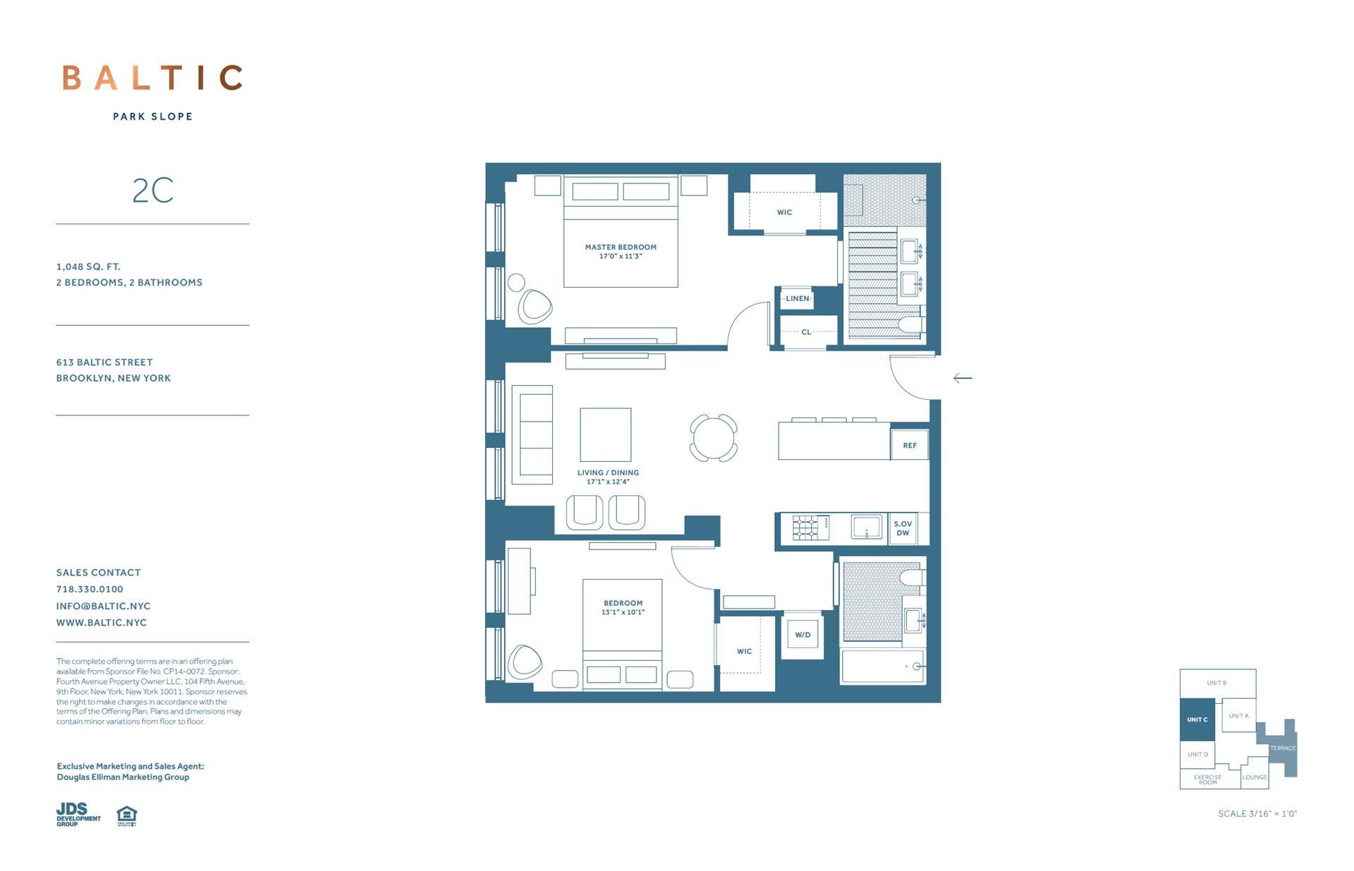 Floor plan of 613 Baltic St, 2C - Park Slope, New York