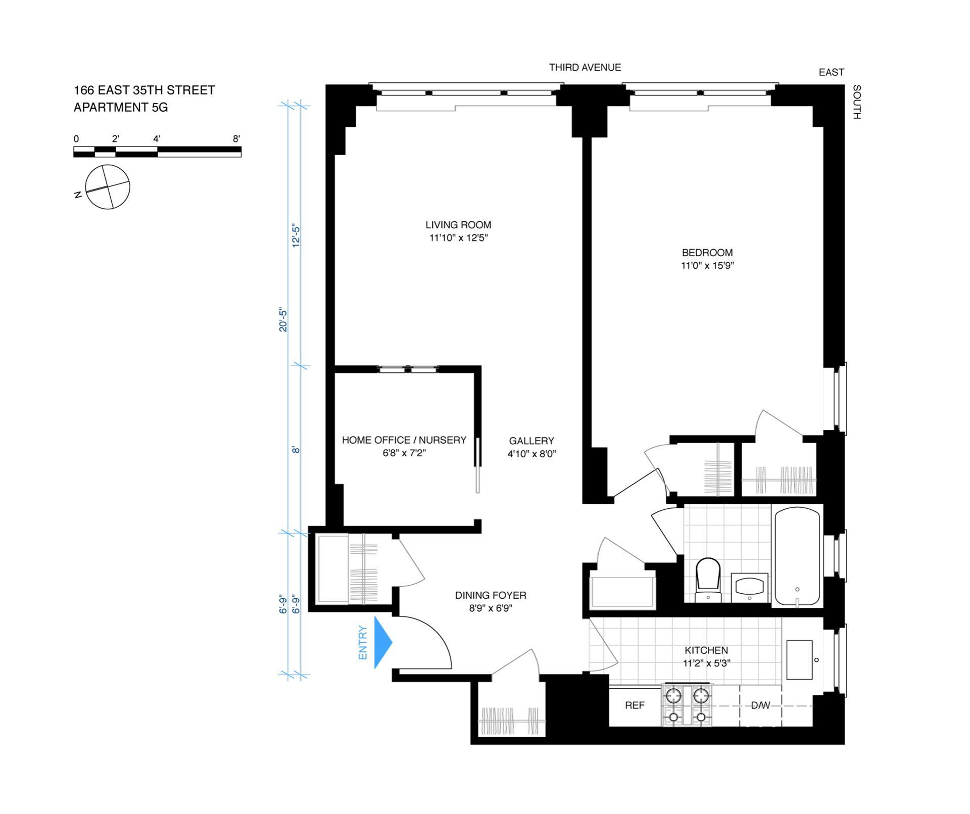 Floor plan of 166 East 35th St, 5G - Murray Hill, New York