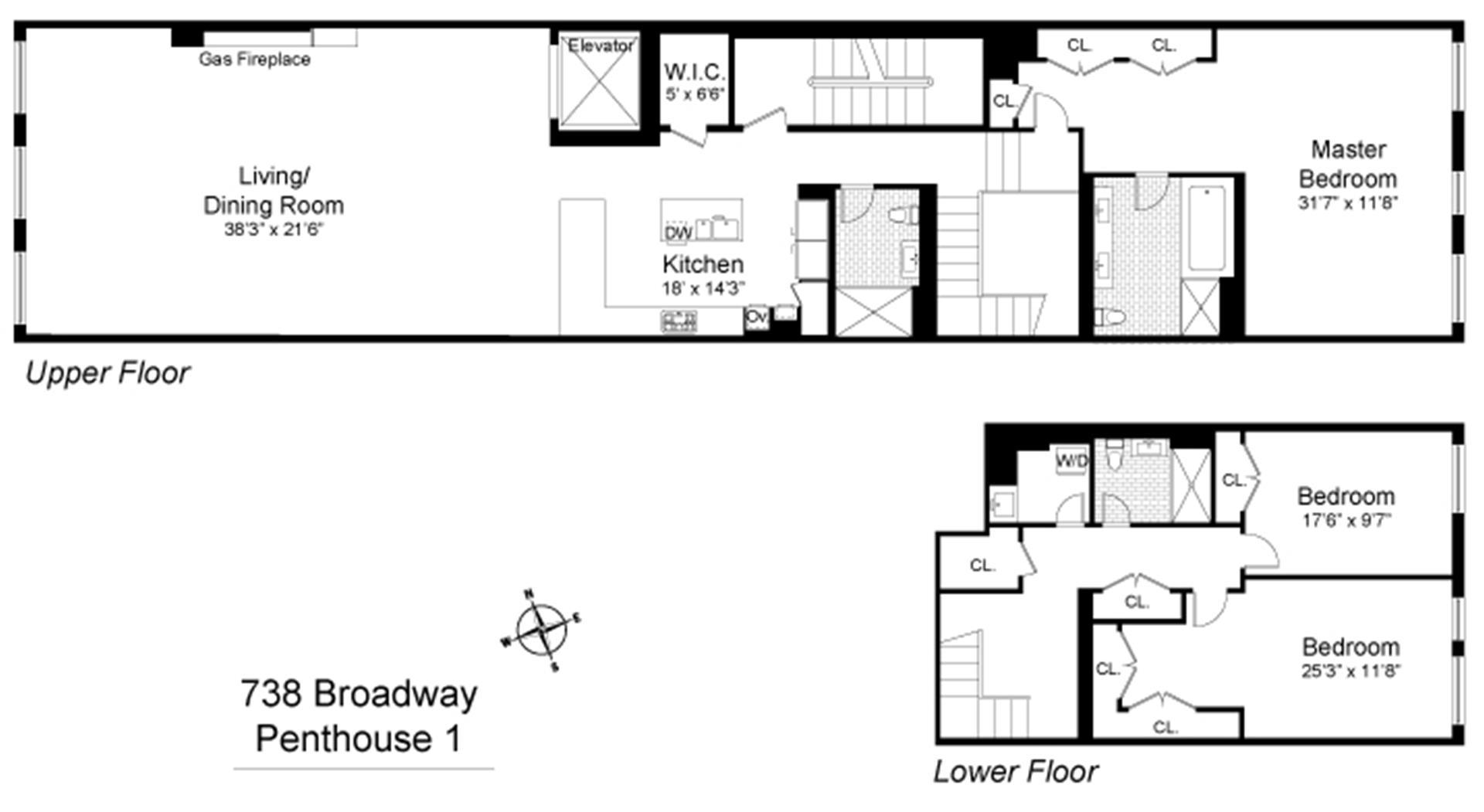 Floor plan of 738 Broadway, PH1 - Greenwich Village, New York
