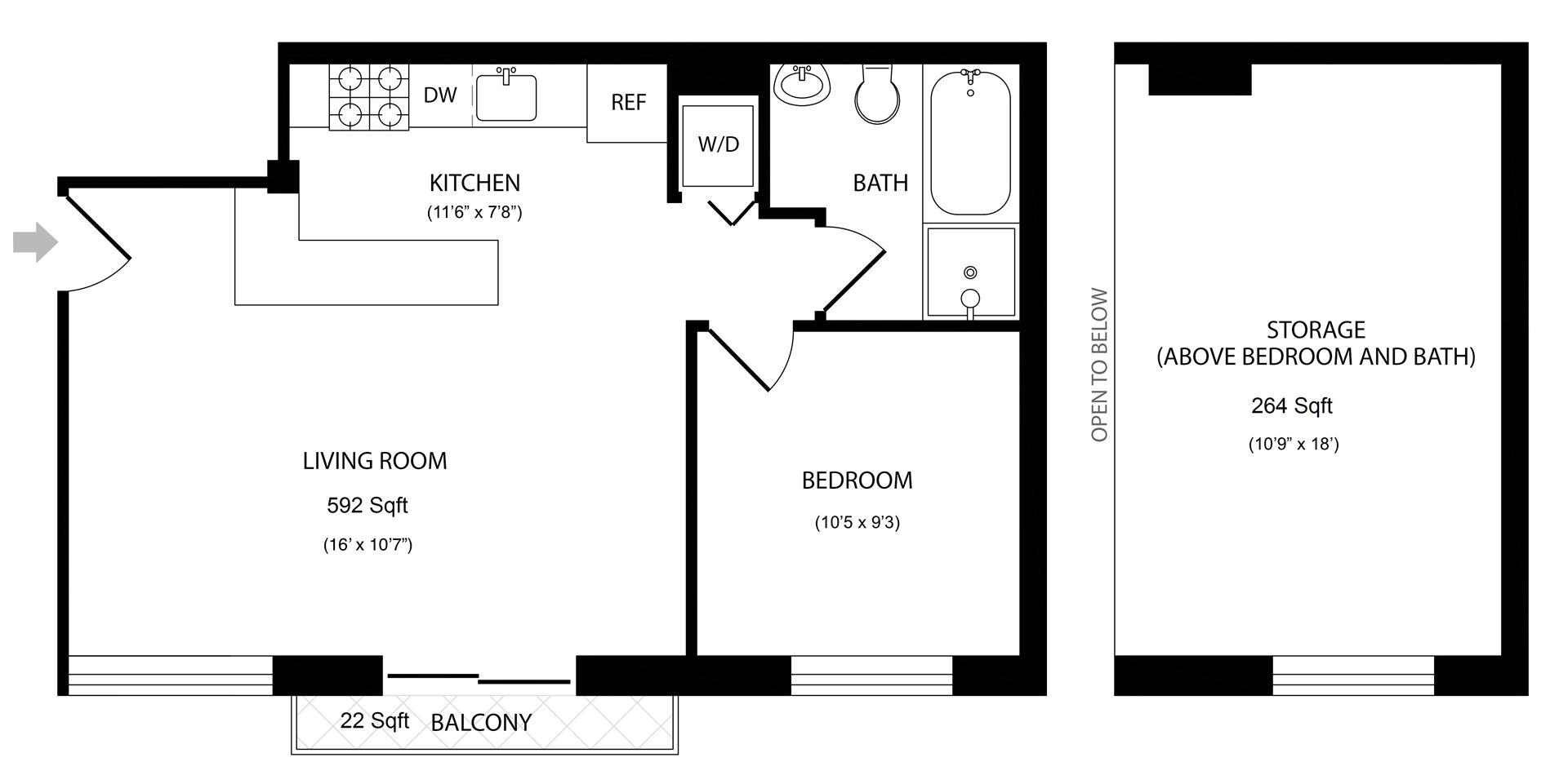 Floor plan of 117 Kingsland Avenue, 3B - Greenpoint, New York