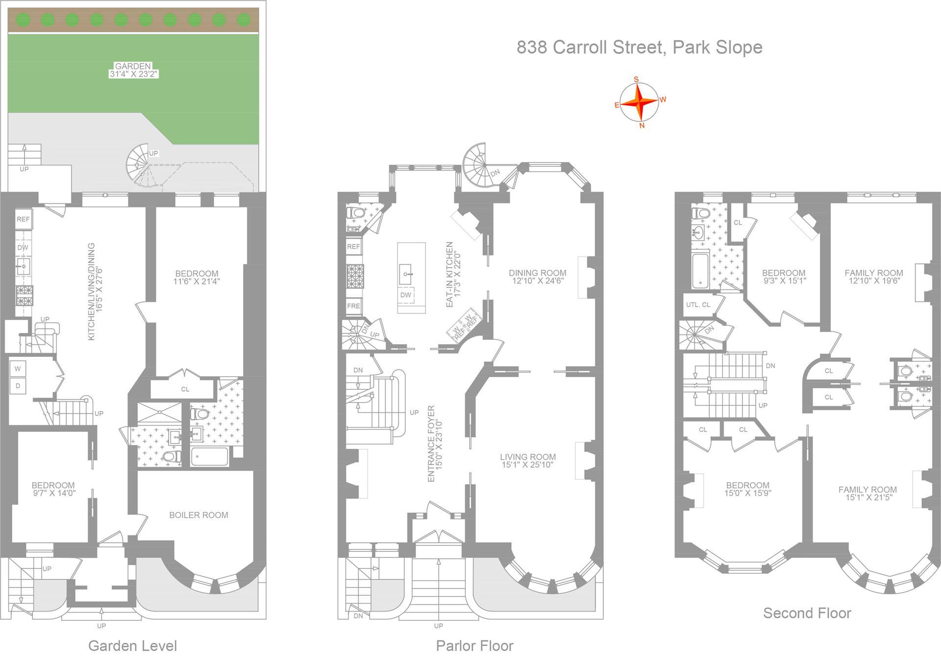 Floor plan of 838 Carroll St - Park Slope, New York