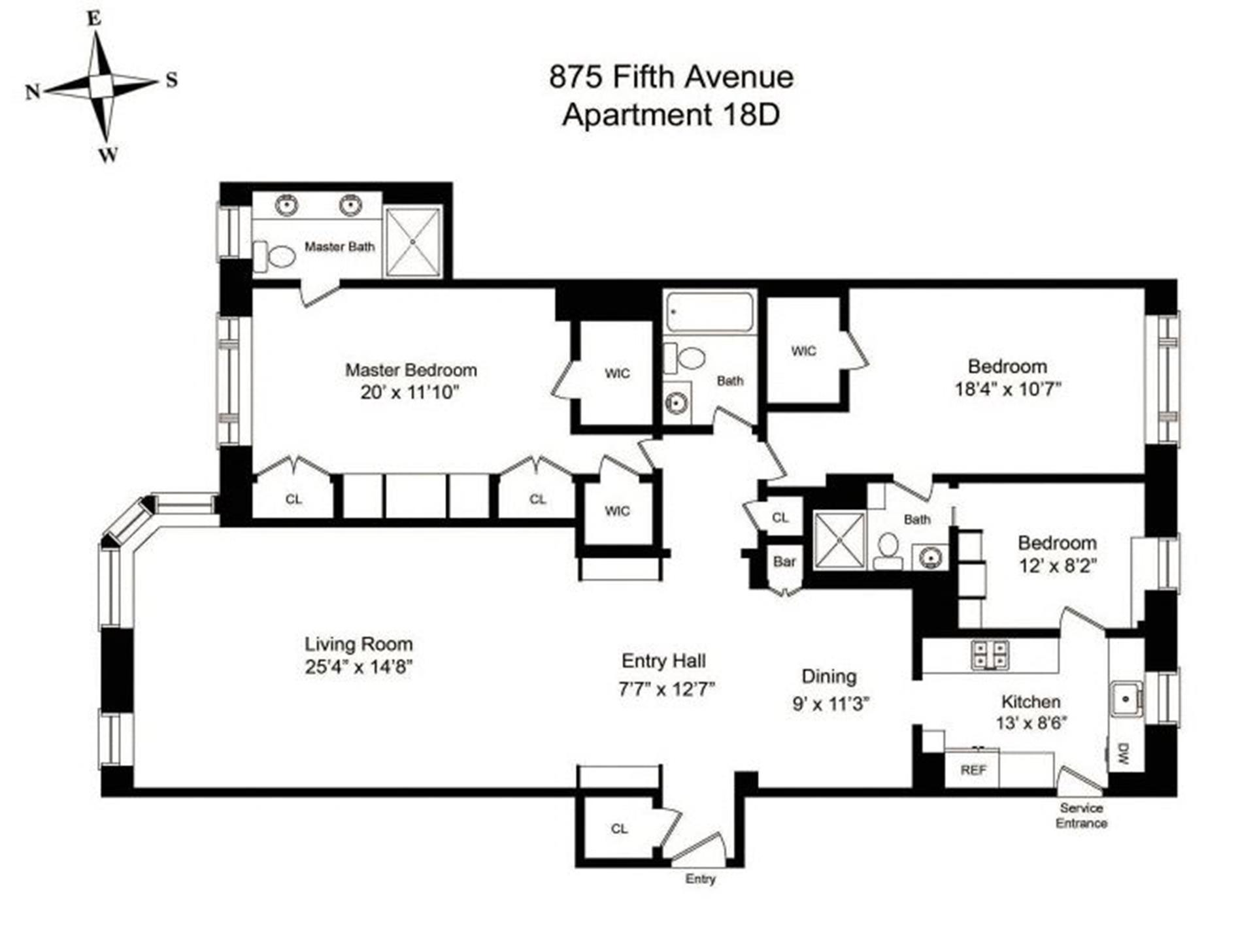 Floor plan of 875 Fifth Avenue, 18D - Upper East Side, New York