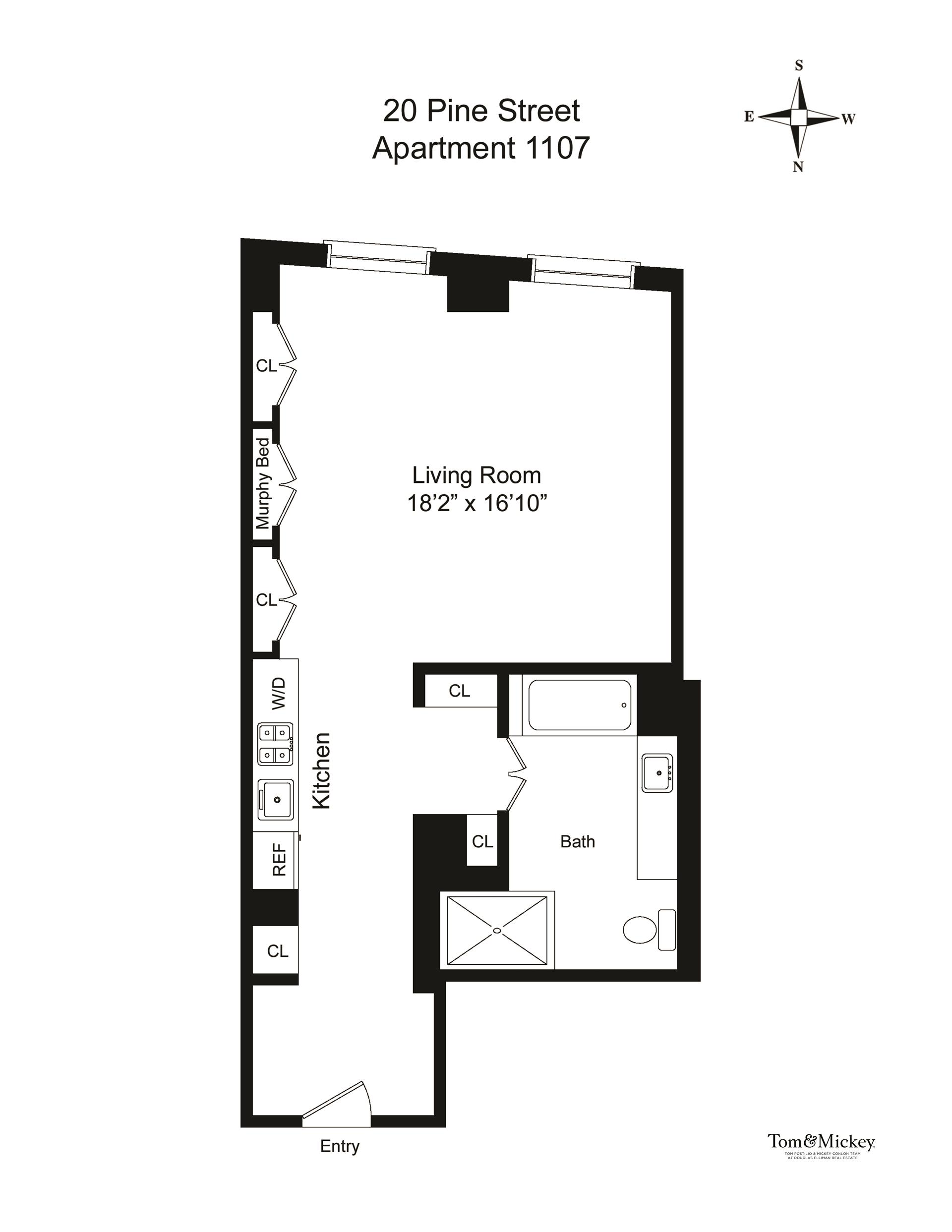 Floor plan of 20 Pine - The Collection, 20 Pine St, 1107 - Financial District, New York