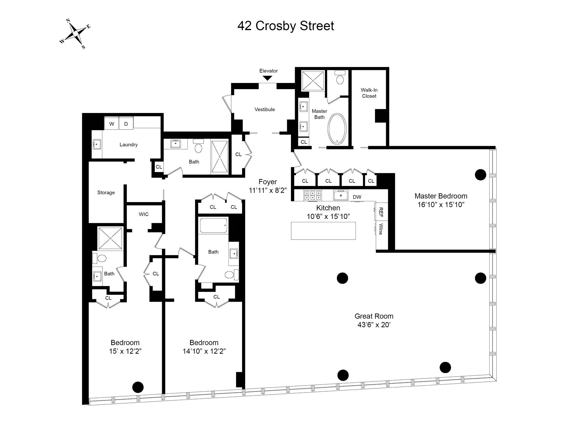 Floor plan of 42 Crosby St, 2S - SoHo - Nolita, New York