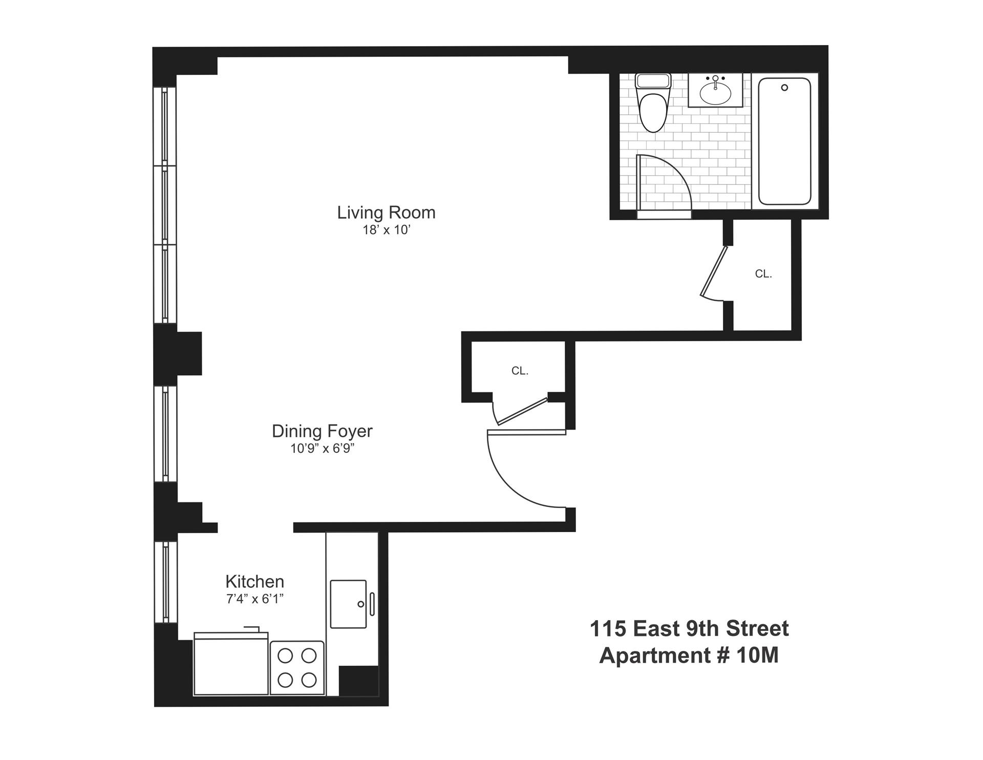 Floor plan of 115 East 9th St, 10M - Greenwich Village, New York