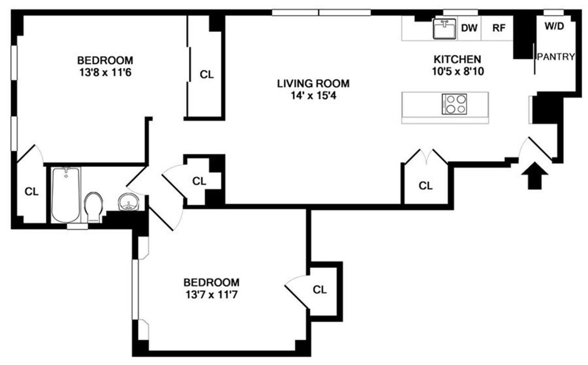 Floor plan of Park South, 120 West 58th St, 6D - Midtown, New York