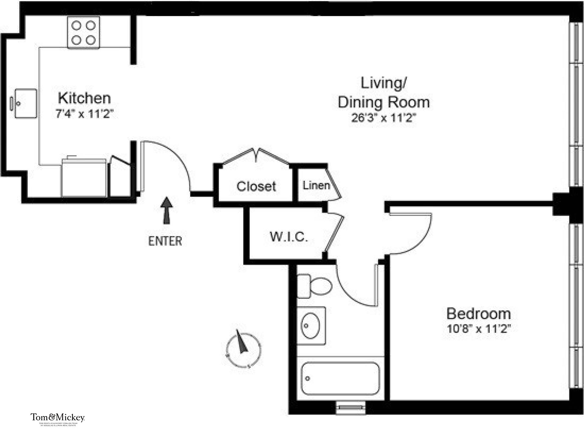 Floor plan of 845 Second Avenue, 3A - Turtle Bay, New York