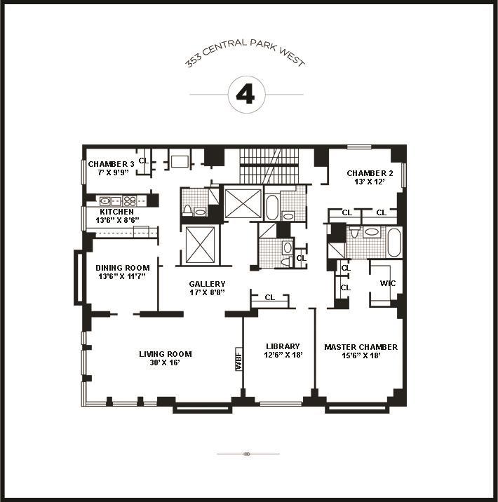 Floor plan of 353 Central Park West, 4