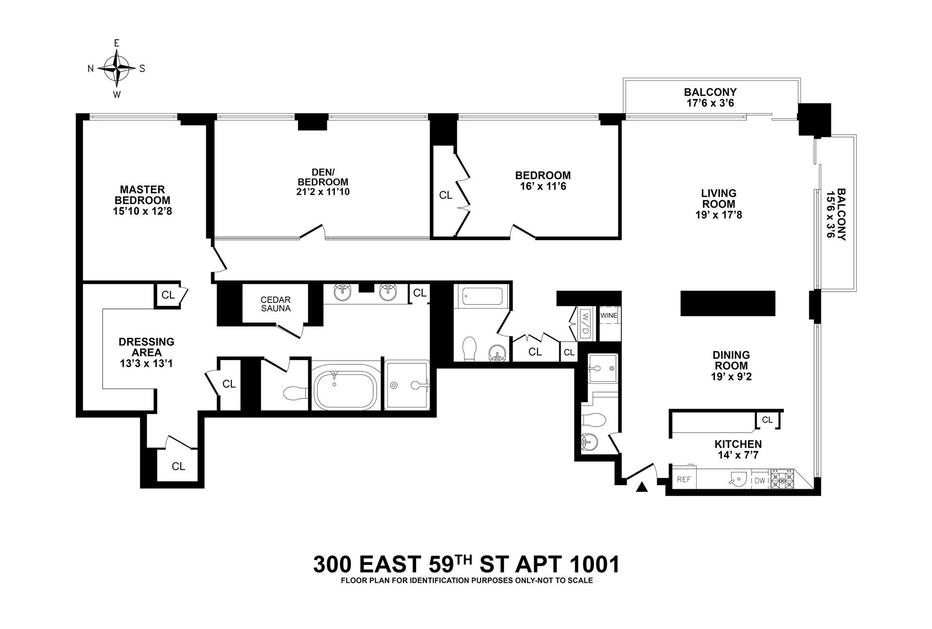 Floor plan of 300 East 59th St, 1001 - Upper East Side, New York