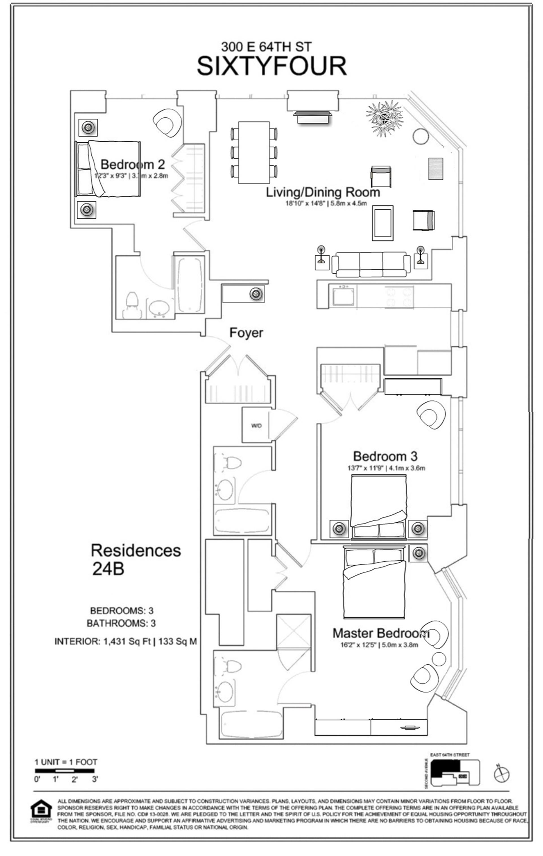 Floor plan of 300 East 64th St, 24B - Upper East Side, New York