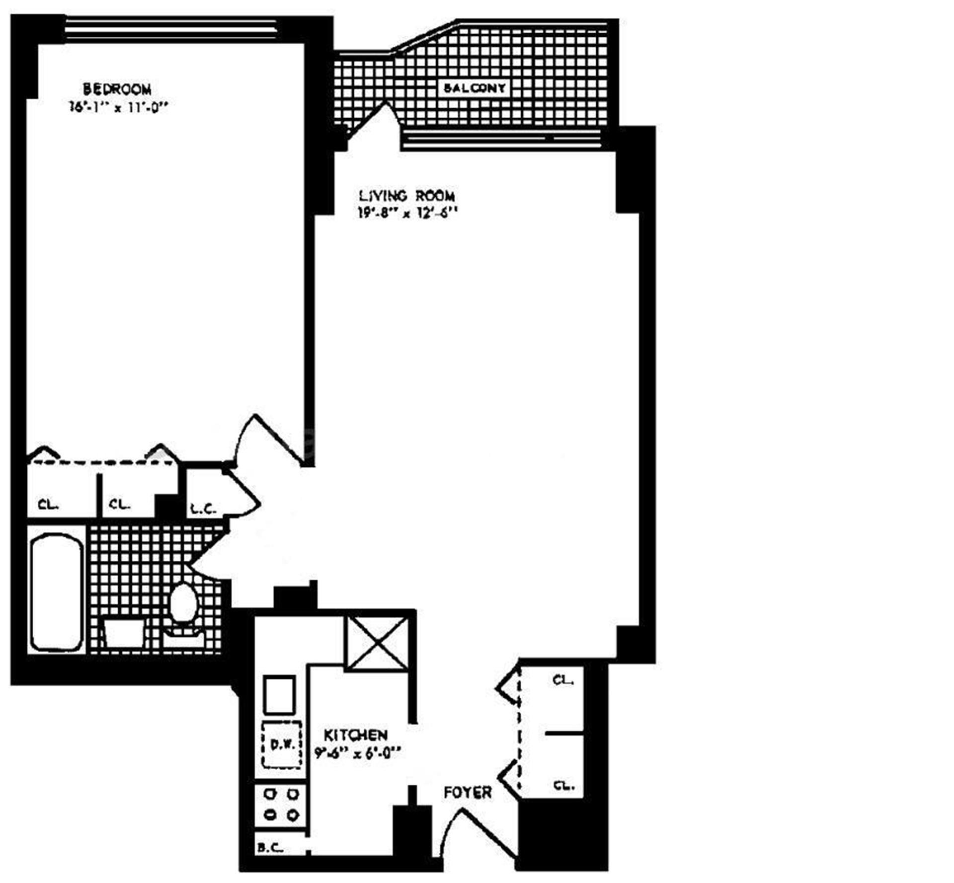 Floor plan of 1160 Third Avenue, 7A - Upper East Side, New York