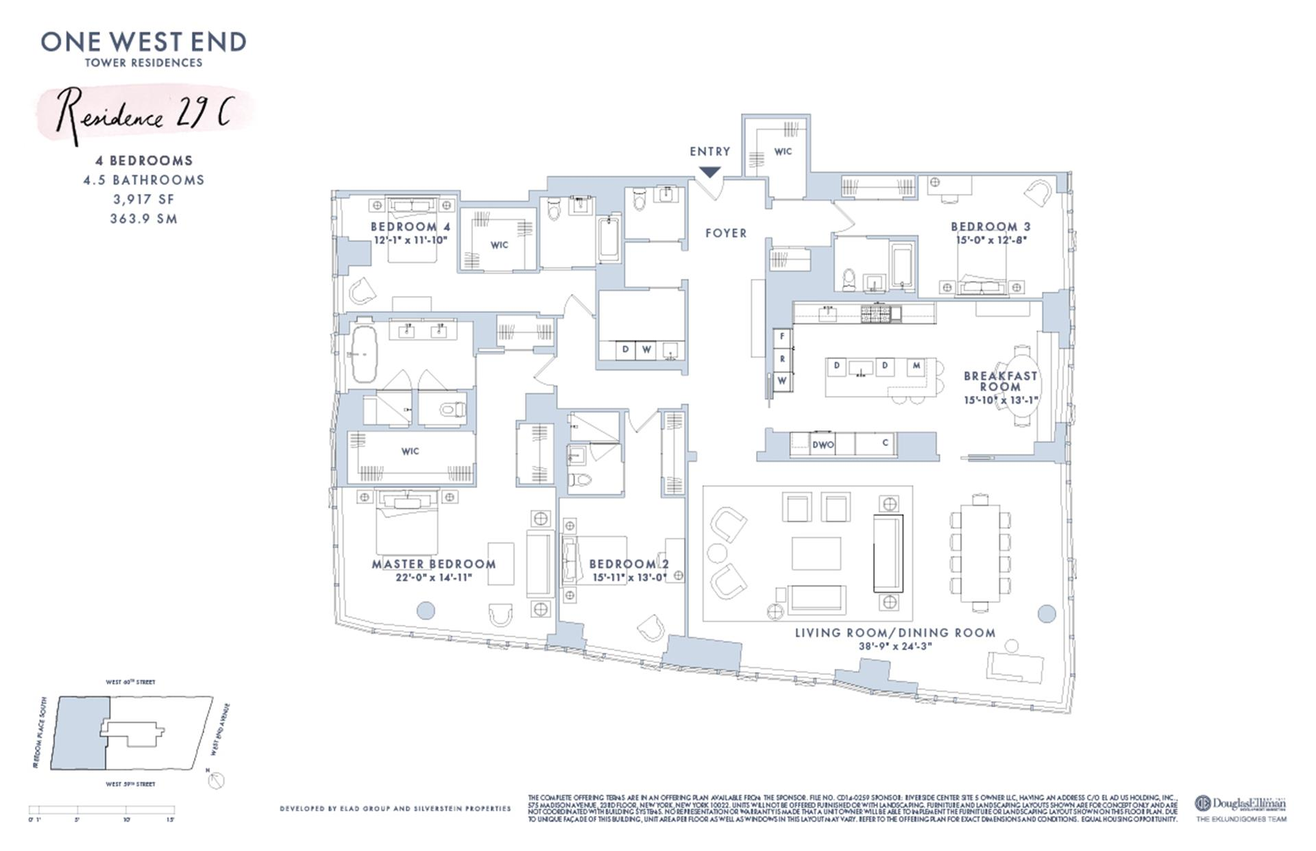 Floor plan of One West End, 1 West End Avenue, 29C - Upper West Side, New York