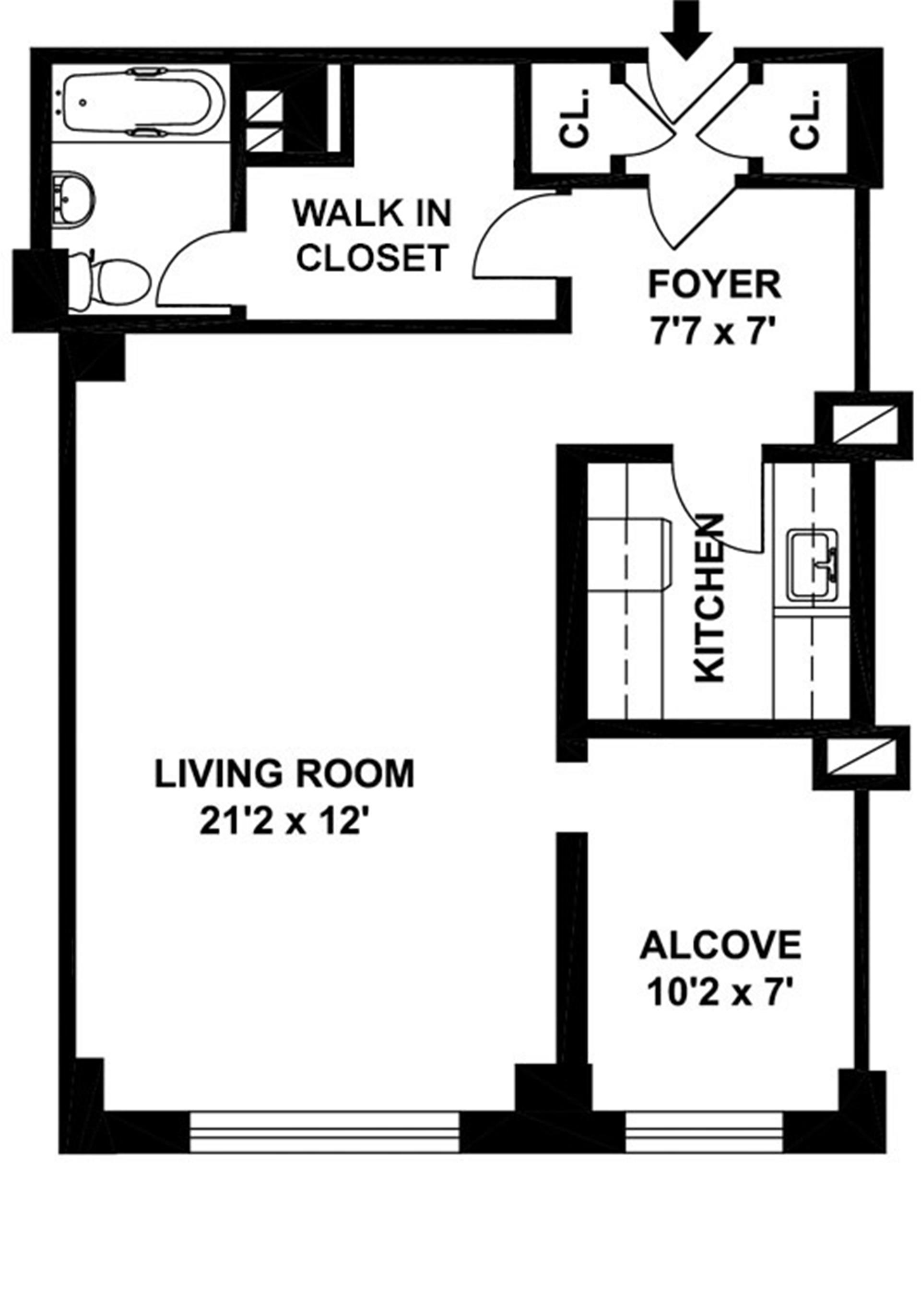 Floor plan of 310 Lexington Avenue, 13G - Murray Hill, New York
