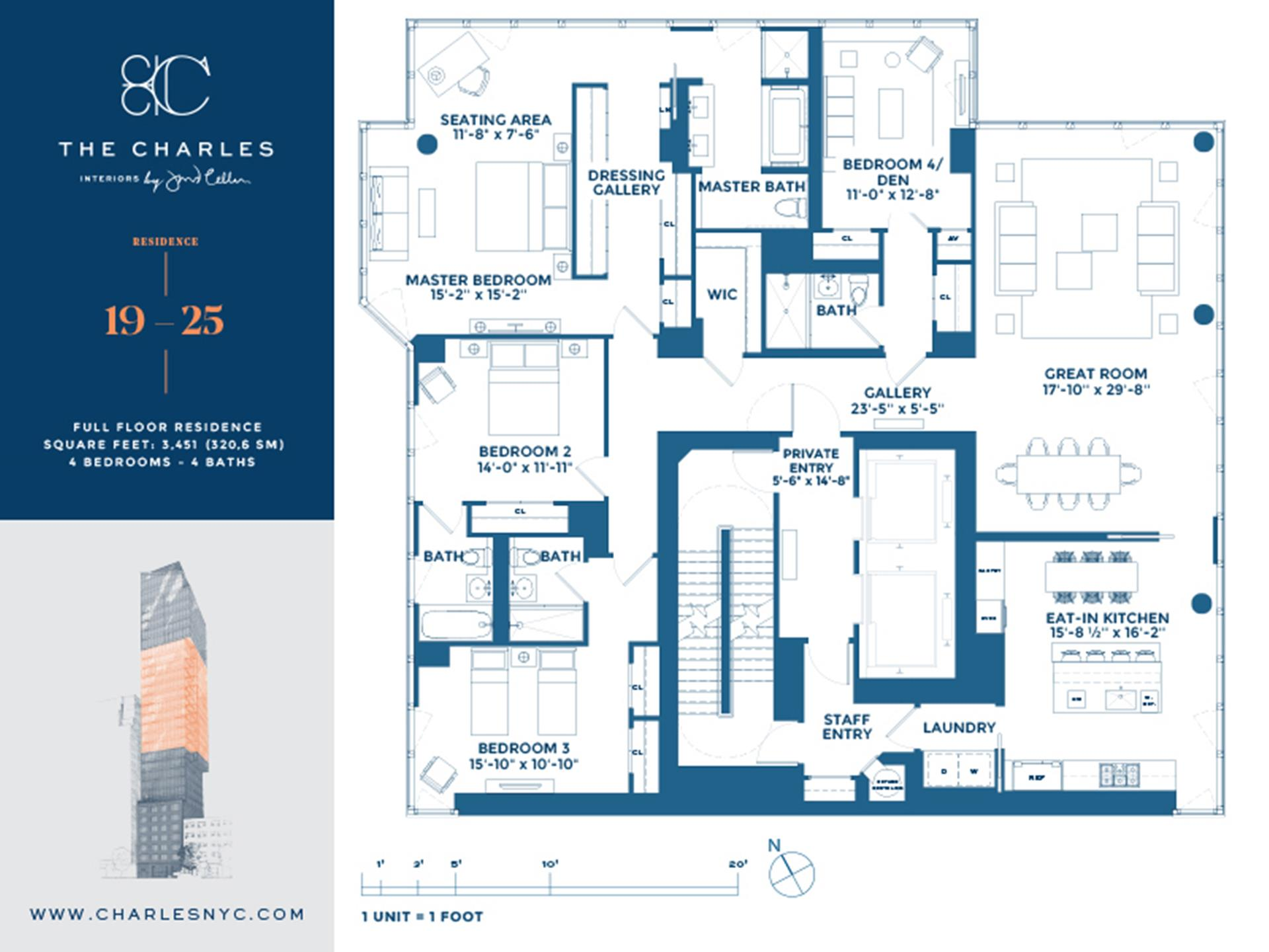 Floor plan of The Charles, 1355 First Avenue, 19FL - Upper East Side, New York