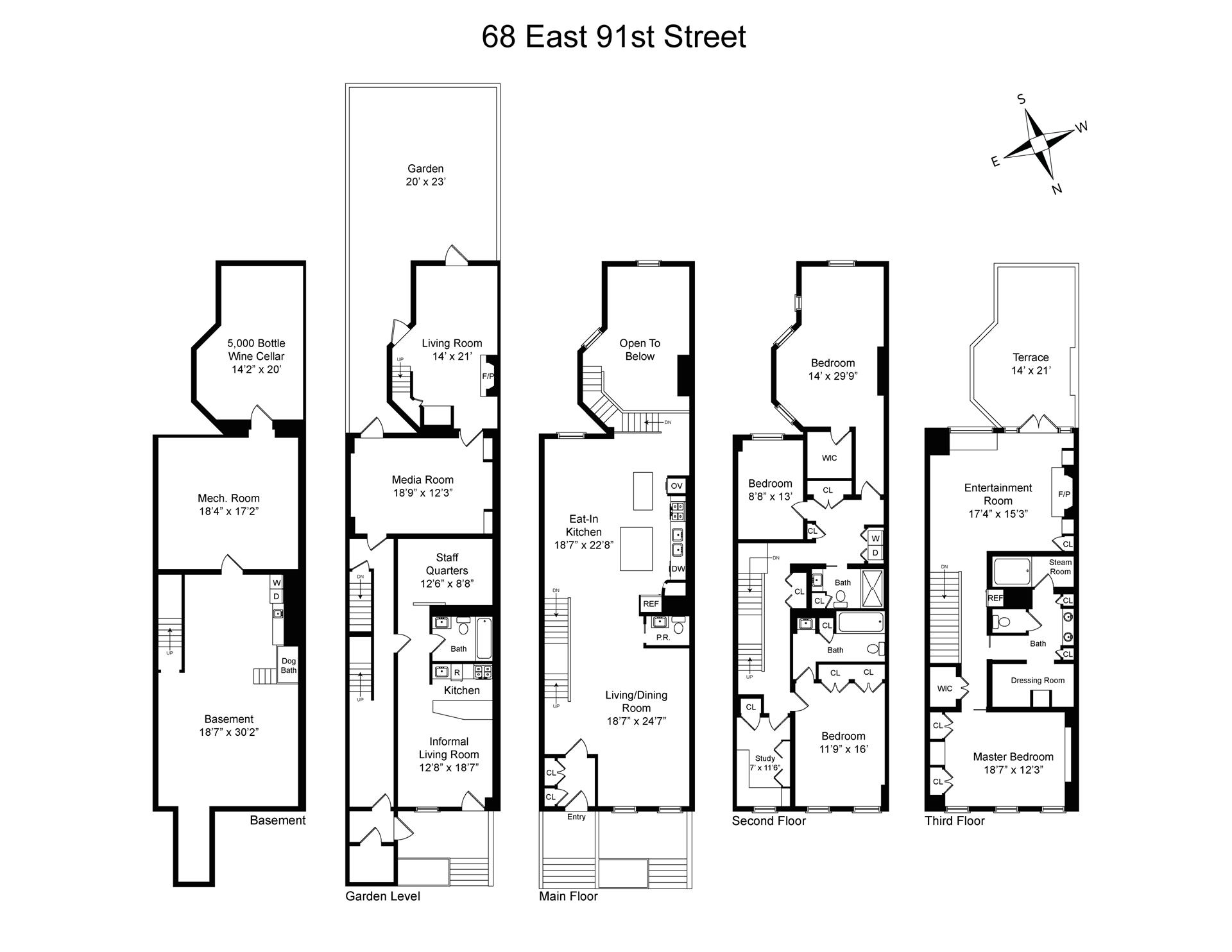 Floor plan of 68 East 91st St - Carnegie Hill, New York