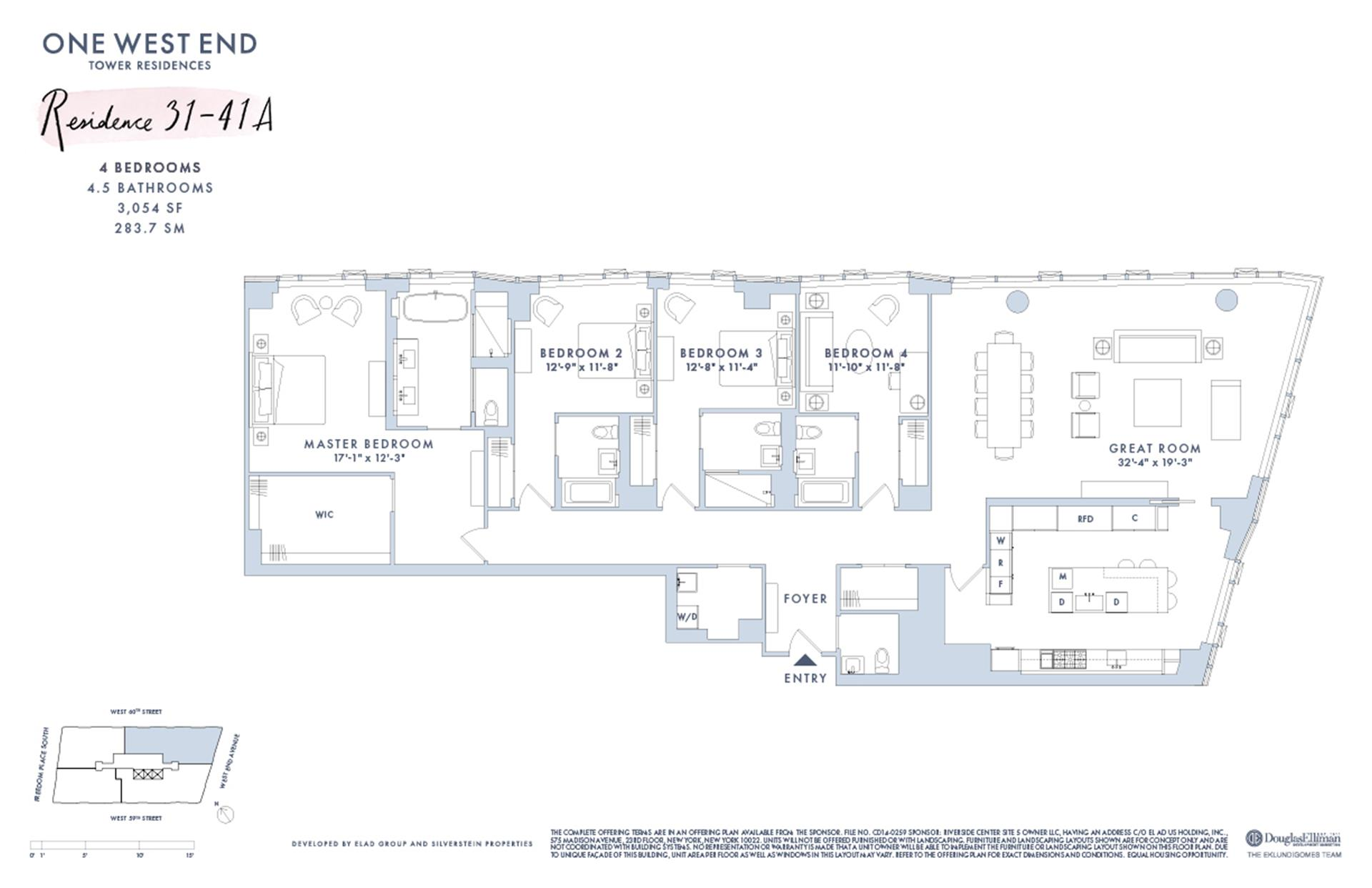 Floor plan of One West End, 1 West End Avenue, 32A - Upper West Side, New York