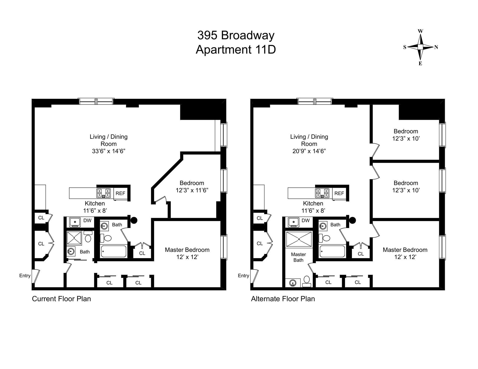 Floor plan of 395 Broadway, 11D - TriBeCa, New York