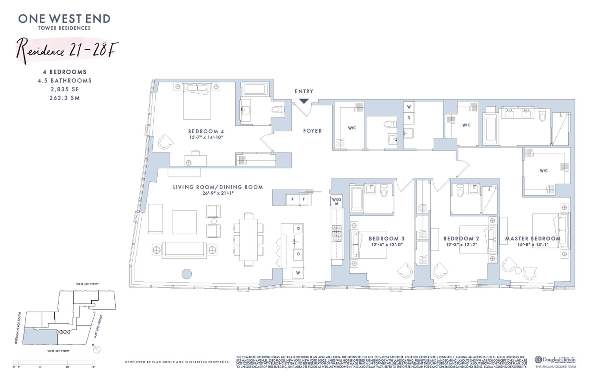 Floor plan of One West End, 1 West End Avenue, 21F - Upper West Side, New York