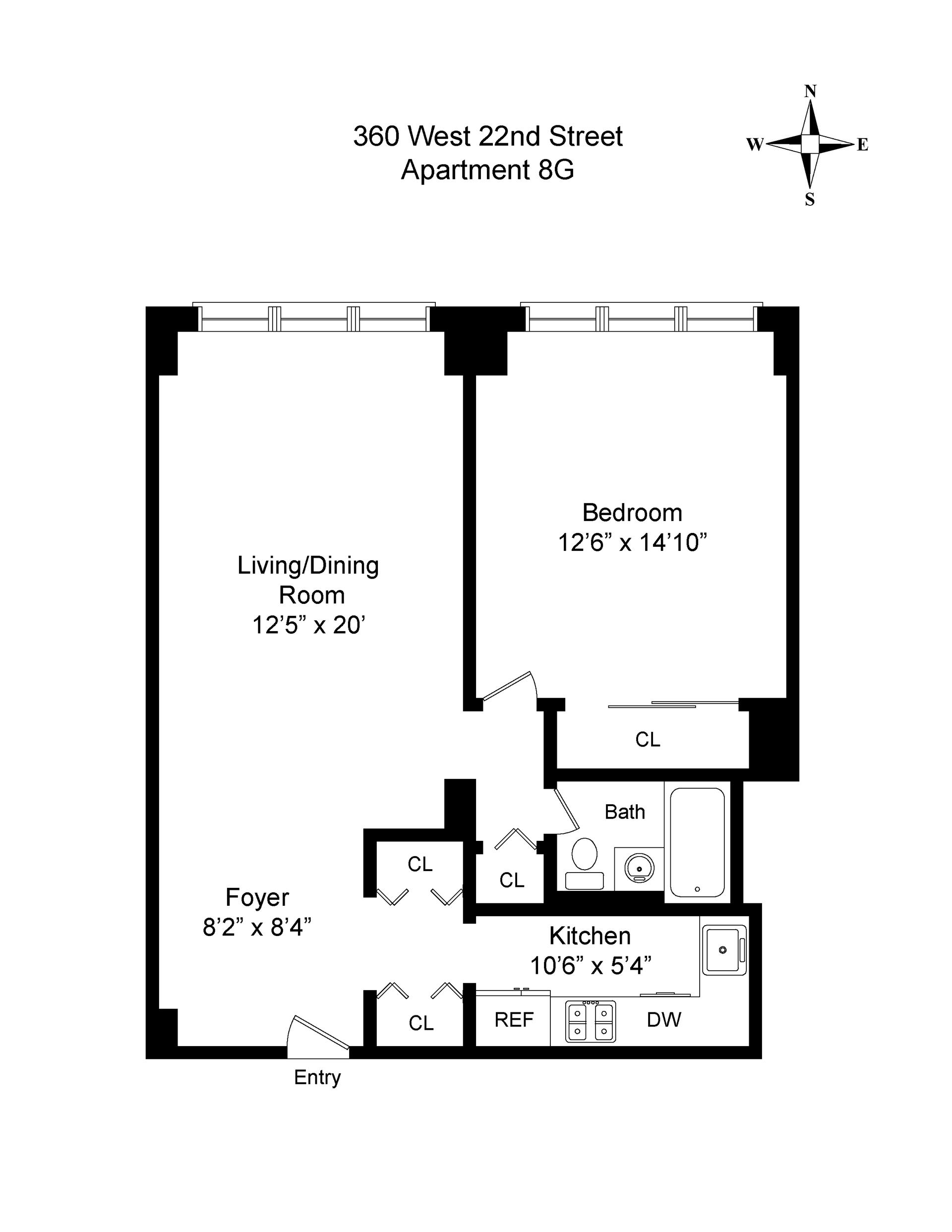 Floor plan of London Towne House, 360 West 22nd St, 8G - Chelsea, New York