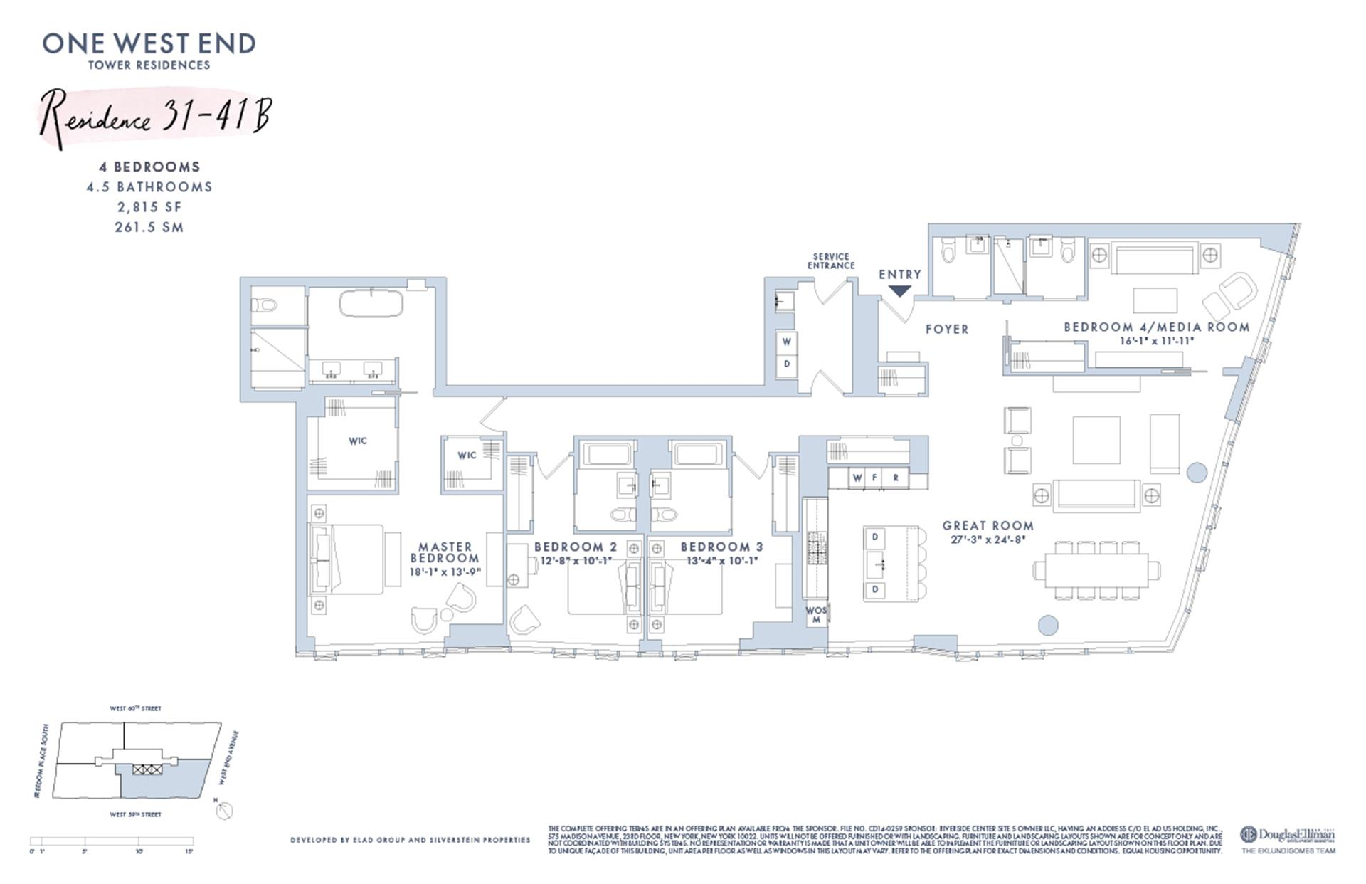 Floor plan of One West End, 1 West End Avenue, 32B - Upper West Side, New York