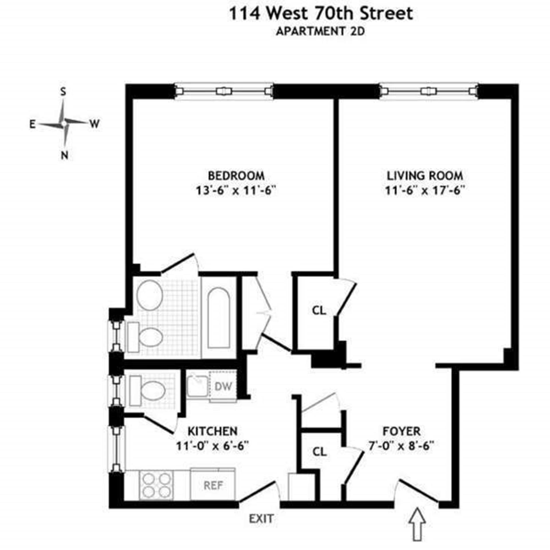 Floor plan of 114 West 70th St, 2D - Upper West Side, New York