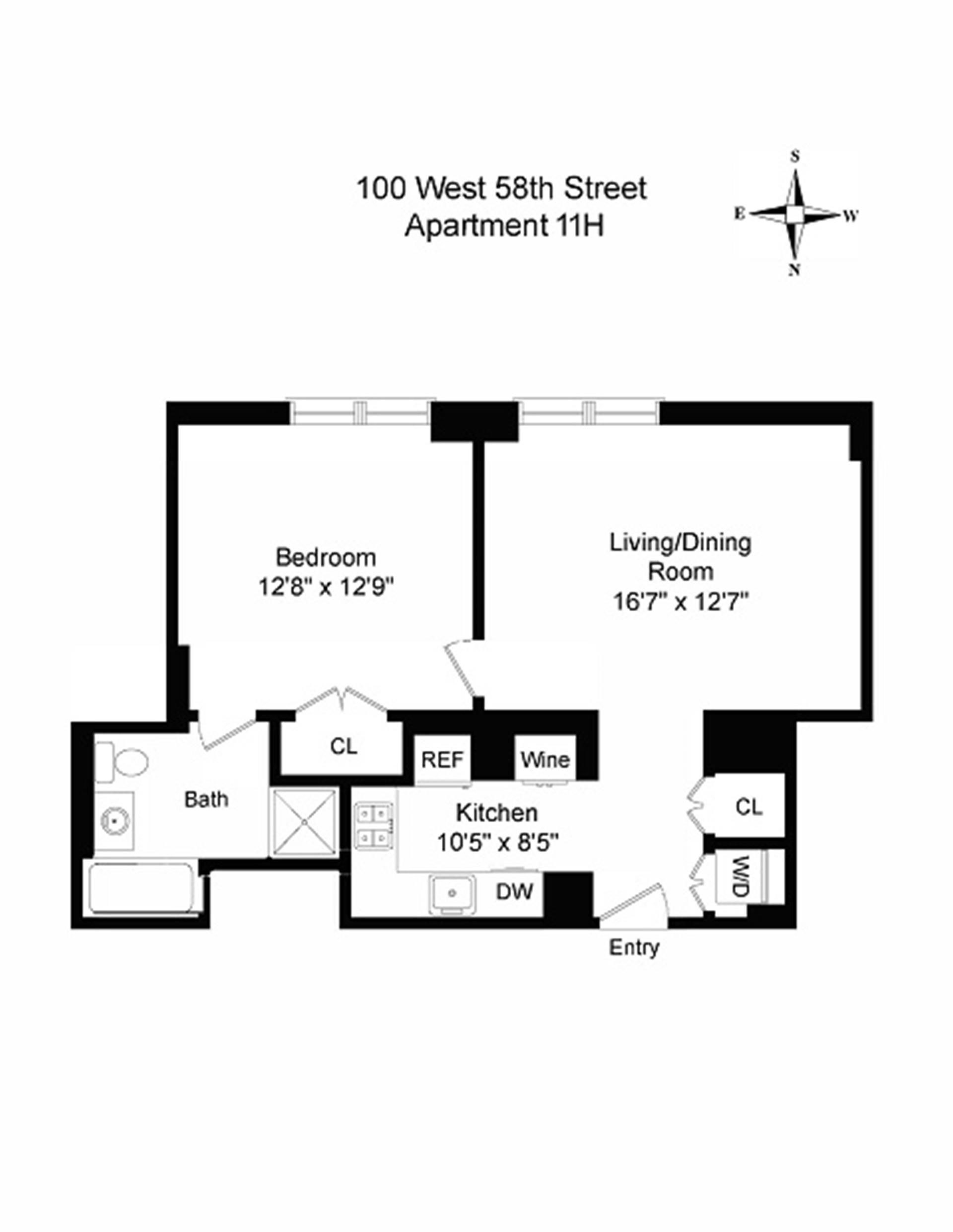 Floor plan of 100 West 58th St, 11H - Midtown, New York