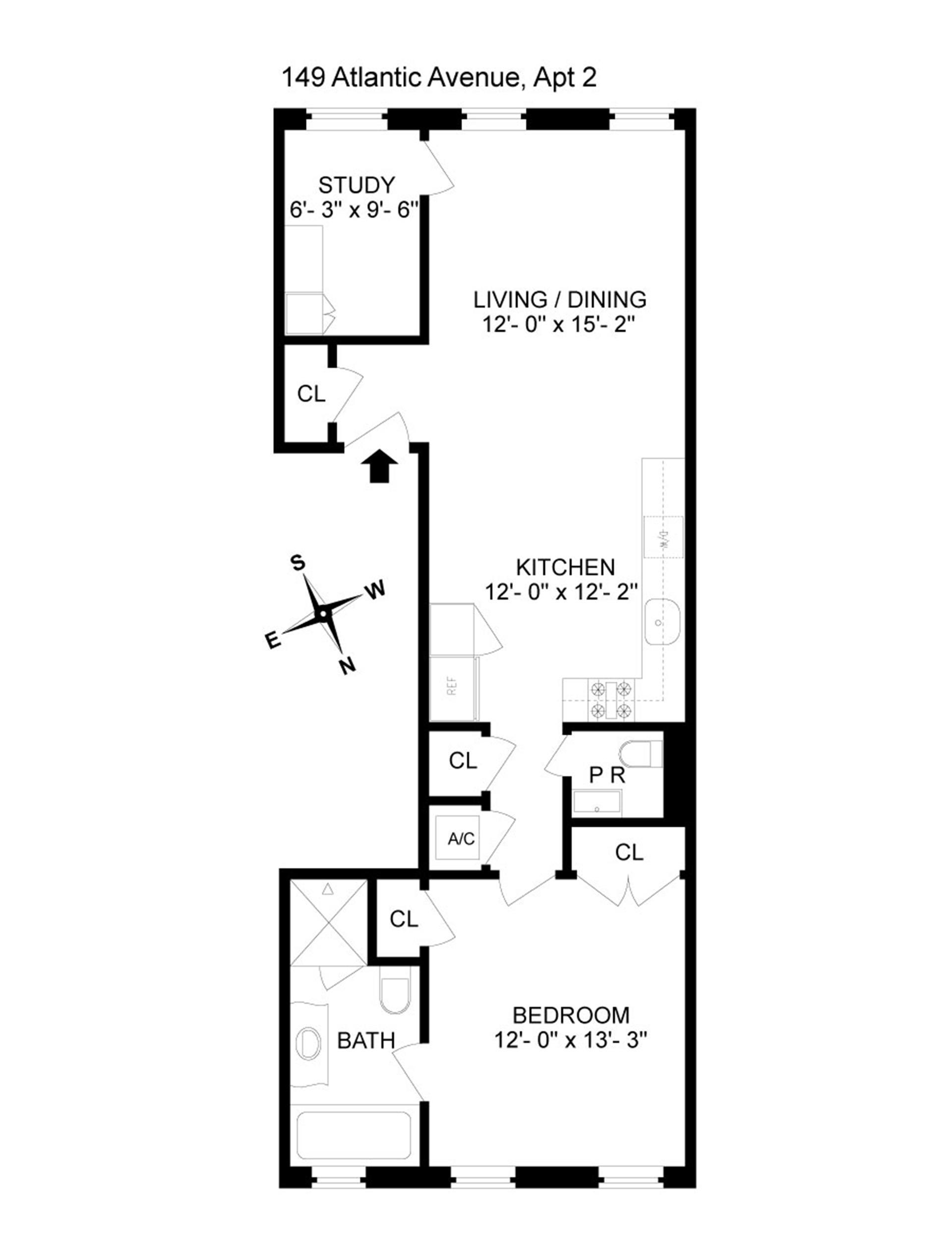Floor plan of 149 Atlantic Avenue, 2 - Brooklyn Heights, New York