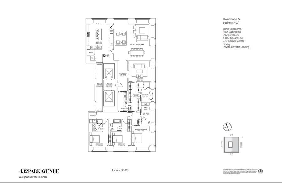 Floor plan of 432 Park Avenue, 38A - Midtown, New York