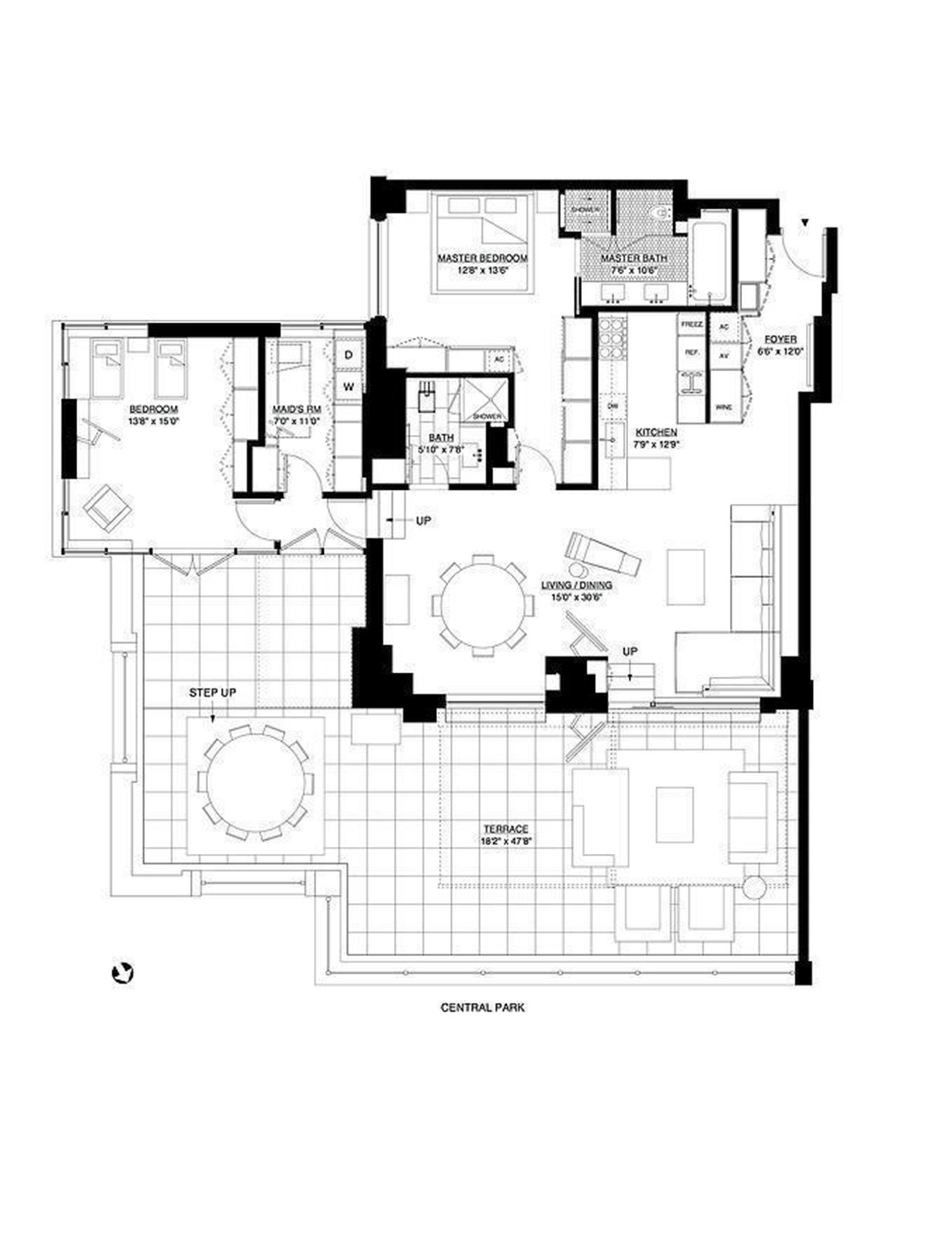 Floor plan of Essex House, 160 Central Park South, 1901 - Central Park South, New York
