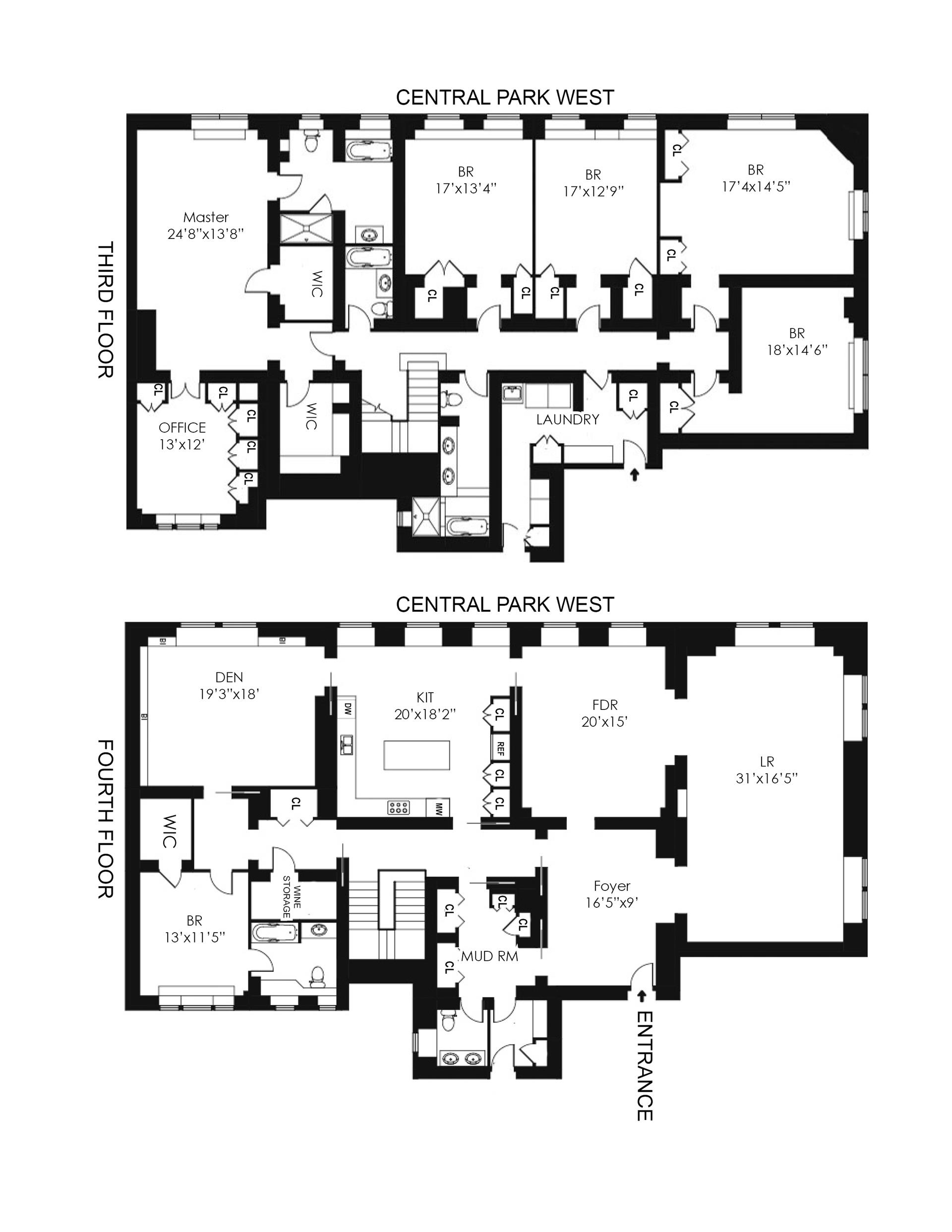 Floor plan of 271 Central Park West, 3/4E - Upper West Side, New York