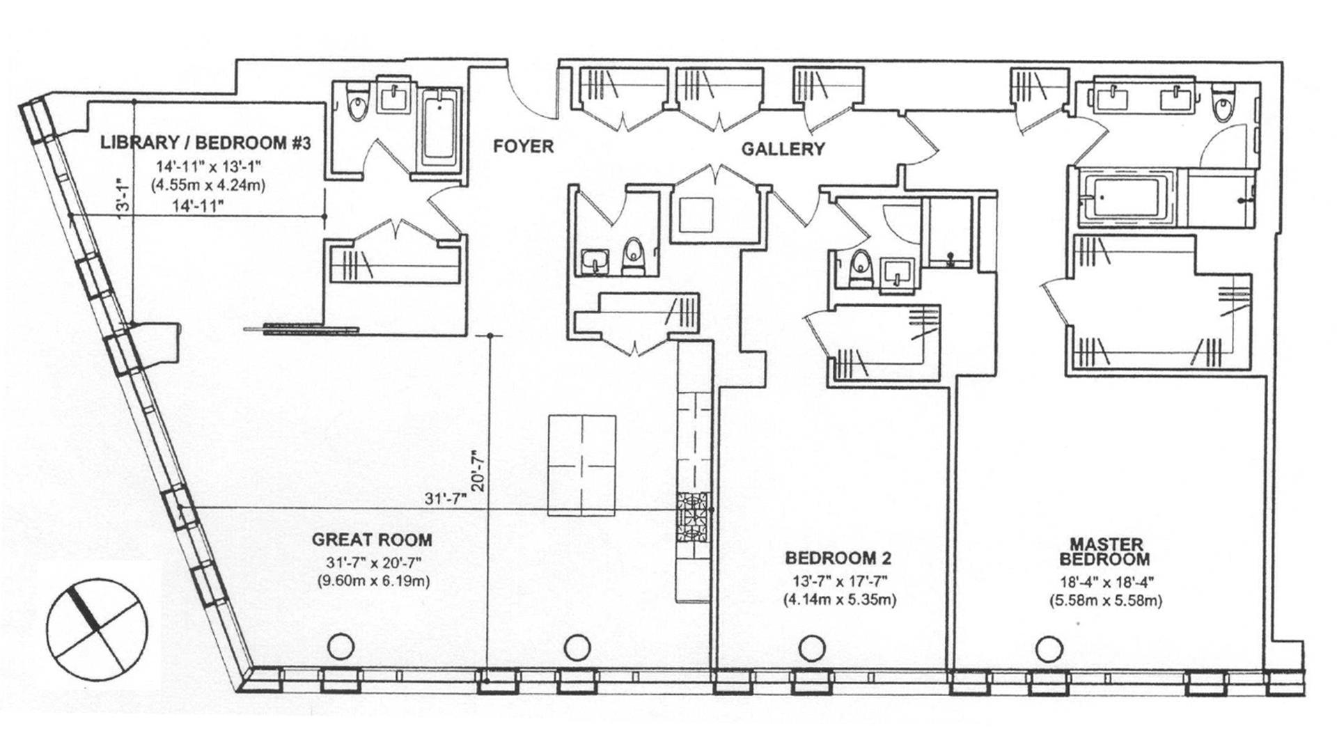 Floor plan of 101 Warren St, 2410 - TriBeCa, New York