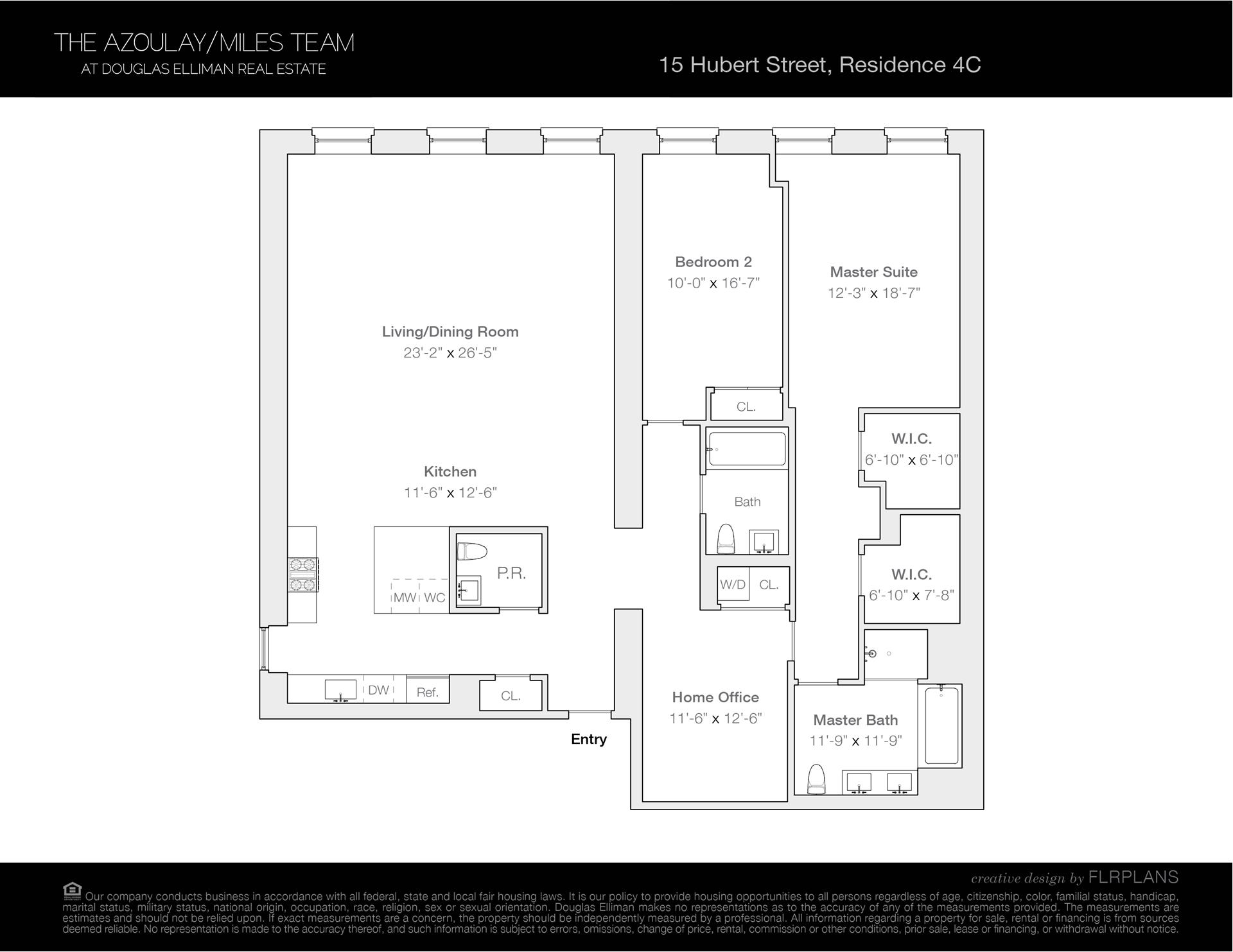 Floor plan of 15 Hubert St, 4C - TriBeCa, New York