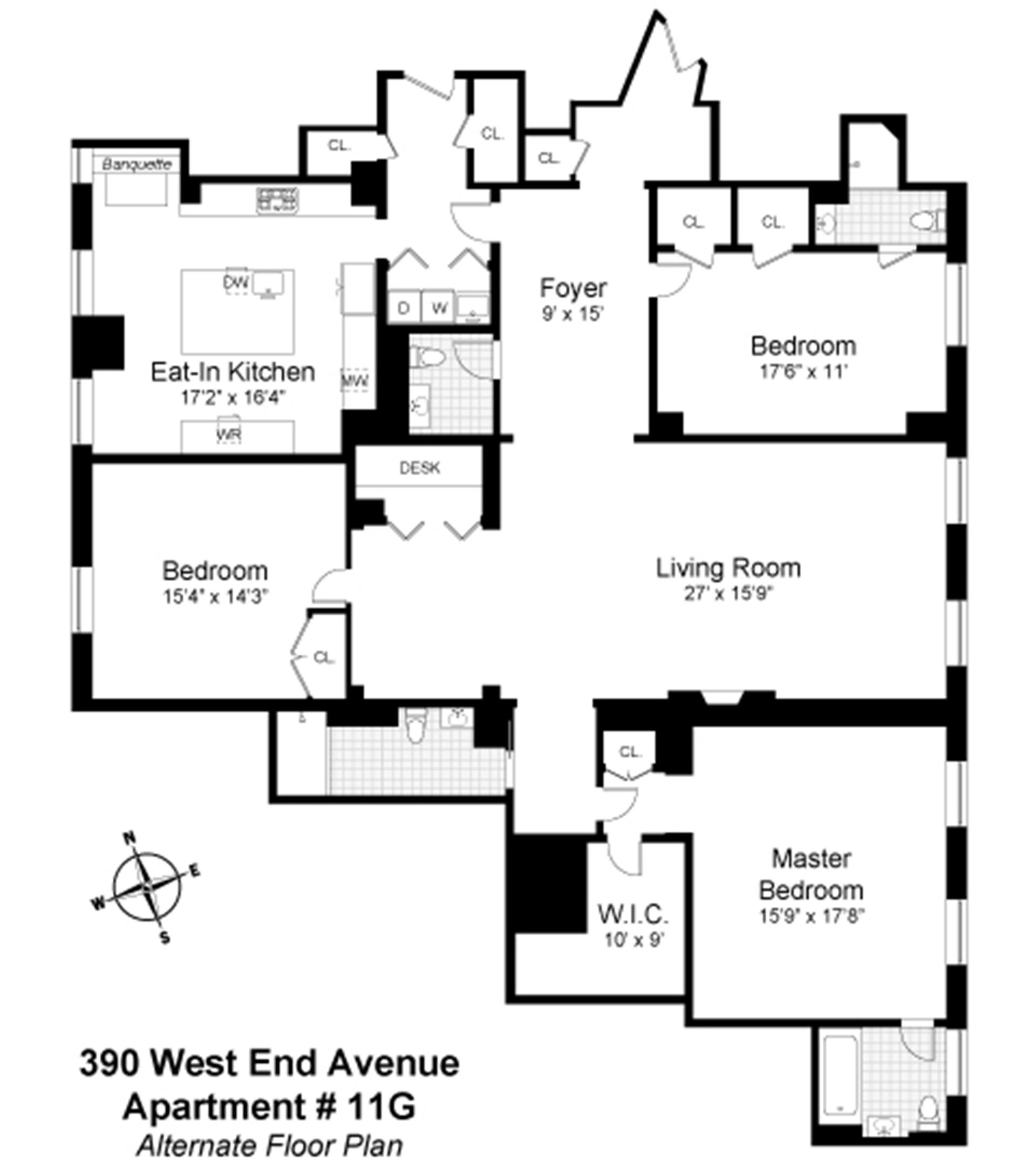 Floor plan of The Apthorp, 390 West End Avenue, 11G - Upper West Side, New York