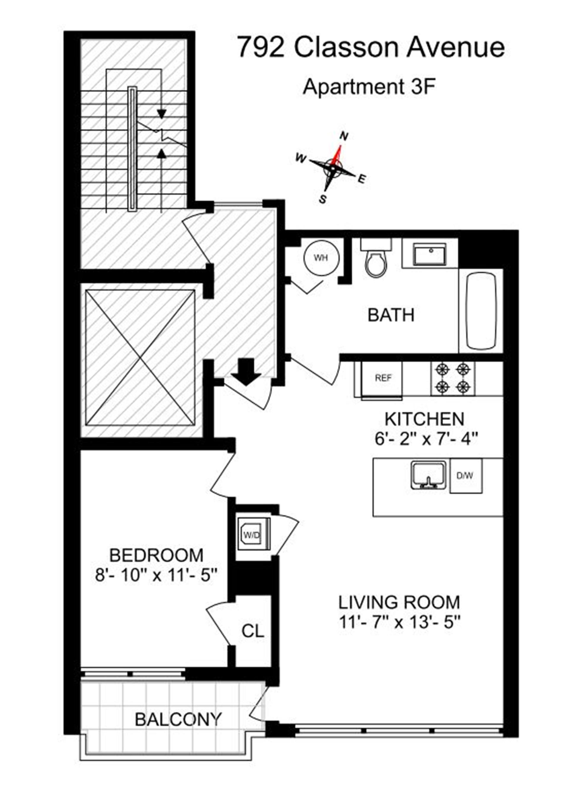 Floor plan of 792 Classon Avenue, 3F - Prospect Heights, New York