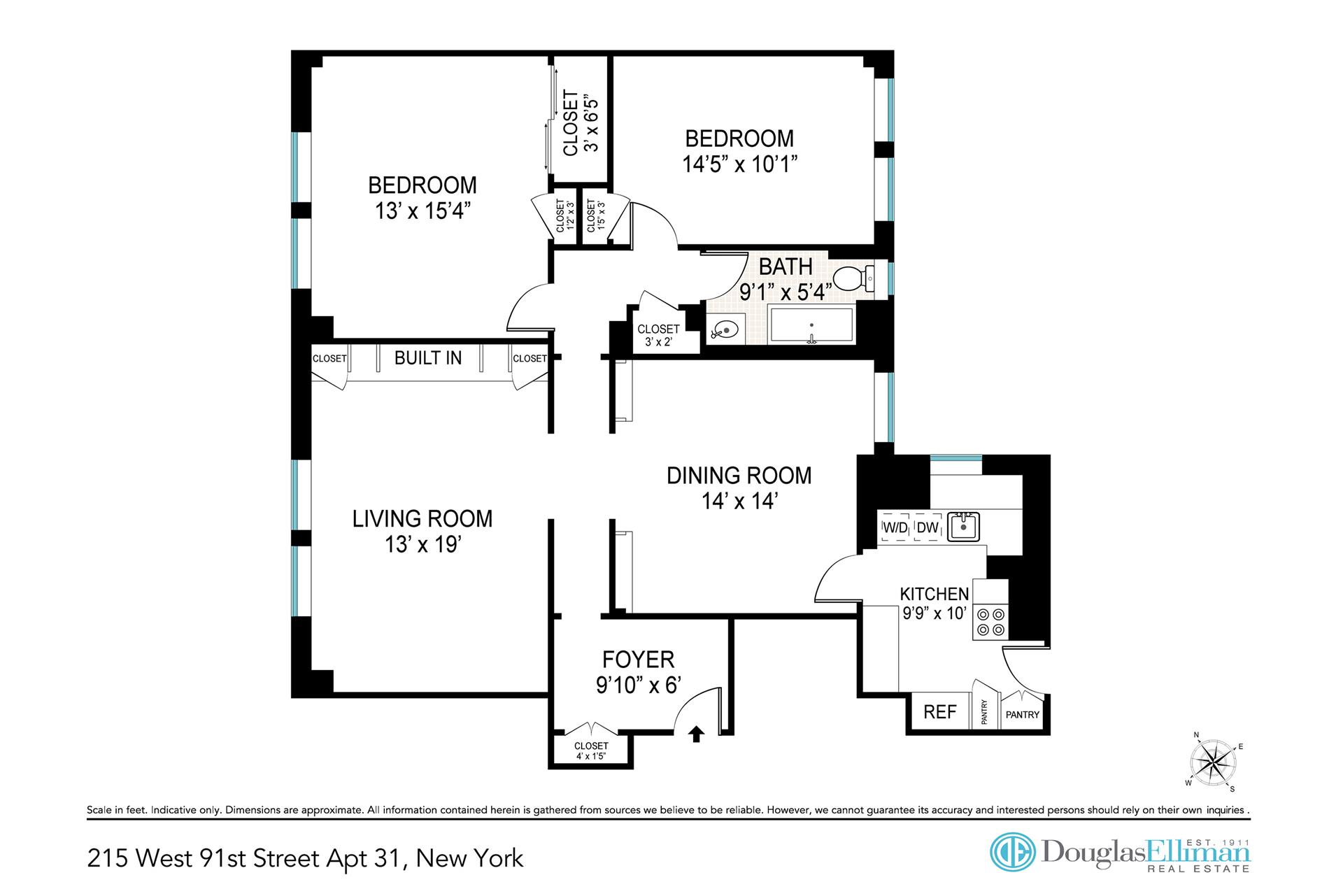 Floor plan of De Soto, 215 West 91st St, 31 - Upper West Side, New York