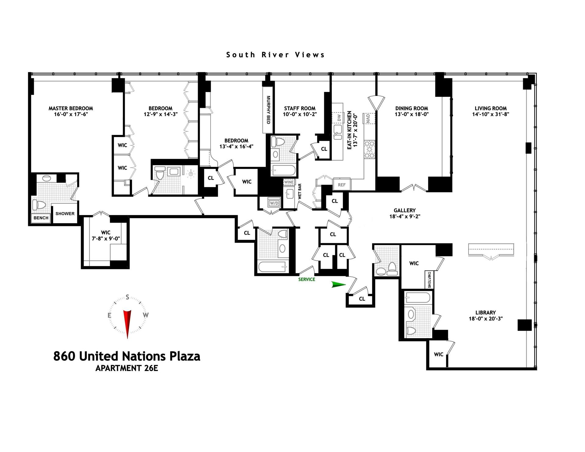 Floor plan of 860 United Nations Plaza, 26E - Turtle Bay, New York
