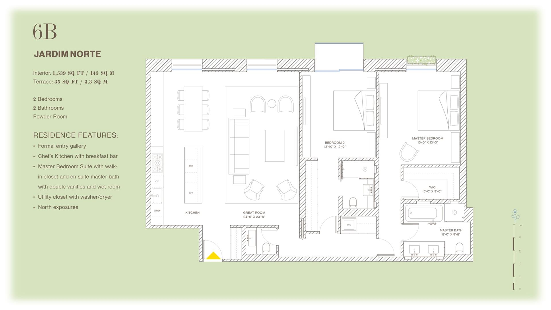 Floor plan of Jardim, 527 West 27th St, 6B - Chelsea, New York