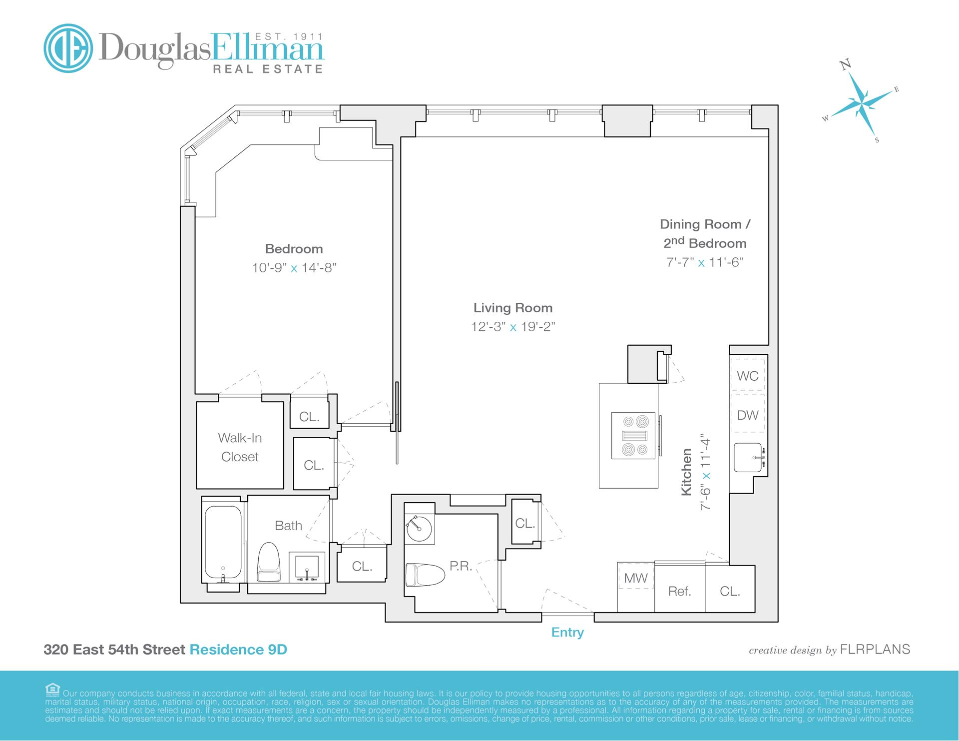 Floor plan of TUDOR TOWER, 320 East 54th St, 9D - Sutton Area, New York