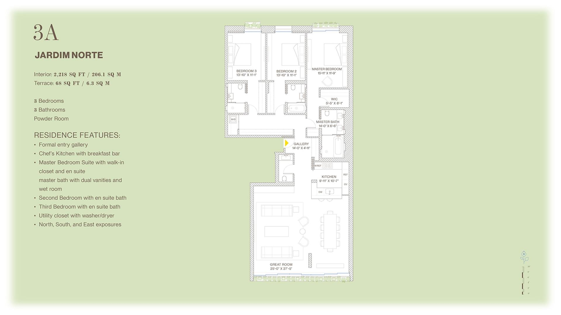 Floor plan of Jardim, 527 West 27th St, 3A - Chelsea, New York